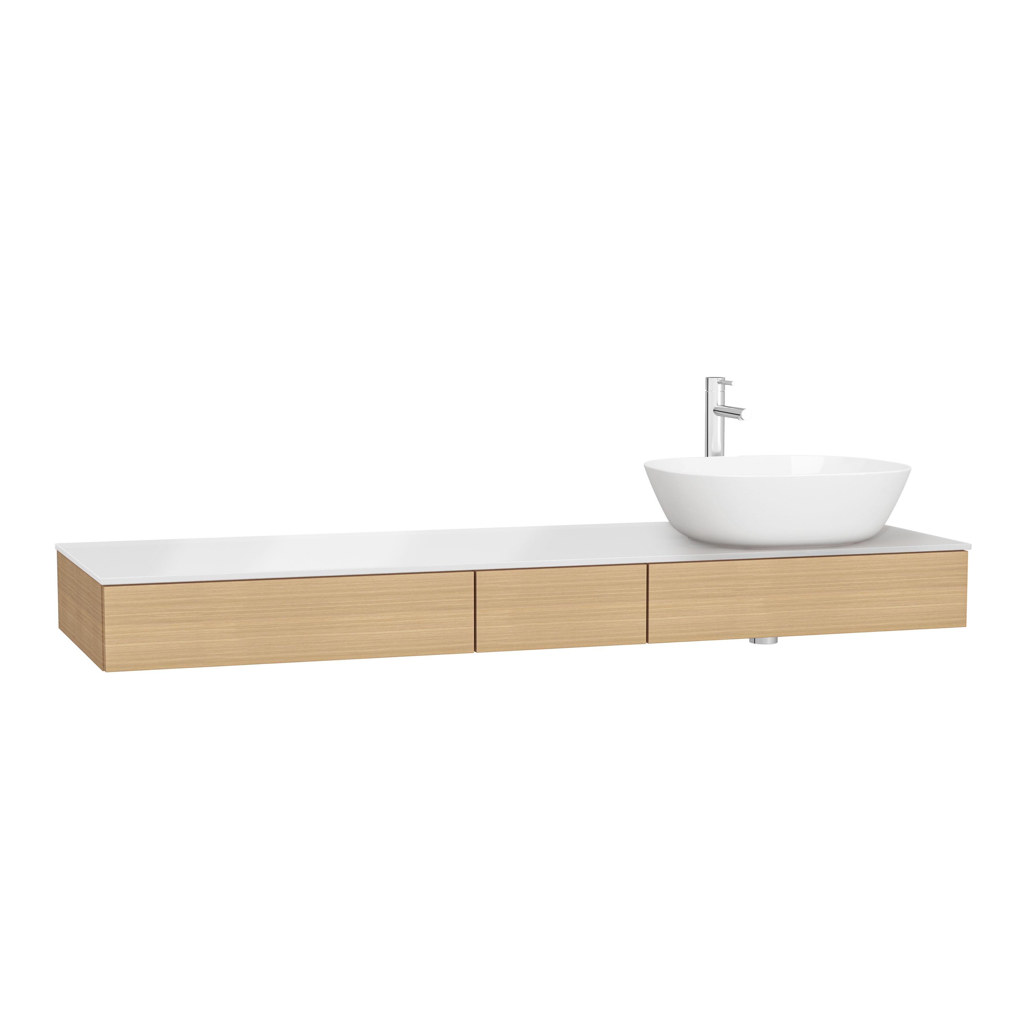 Origin plan de toilette avec tiroir, 150 cm, chêne ferrera, droite