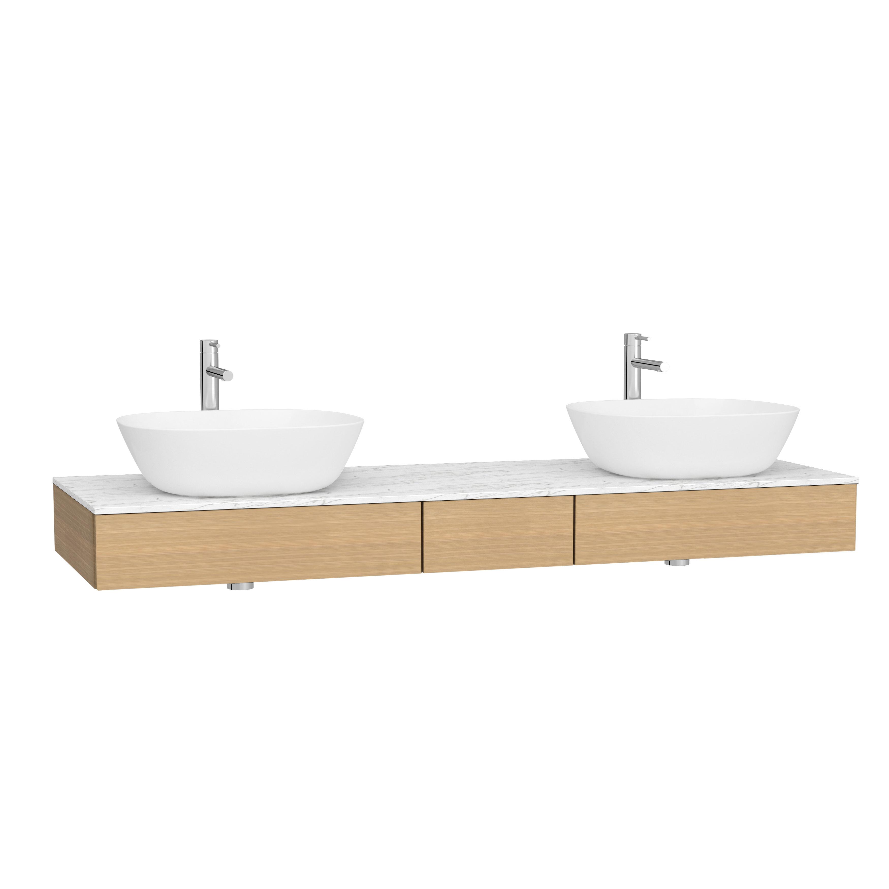 Origin plan de toilette avec tiroir, 150 cm, chêne ferrera, centre