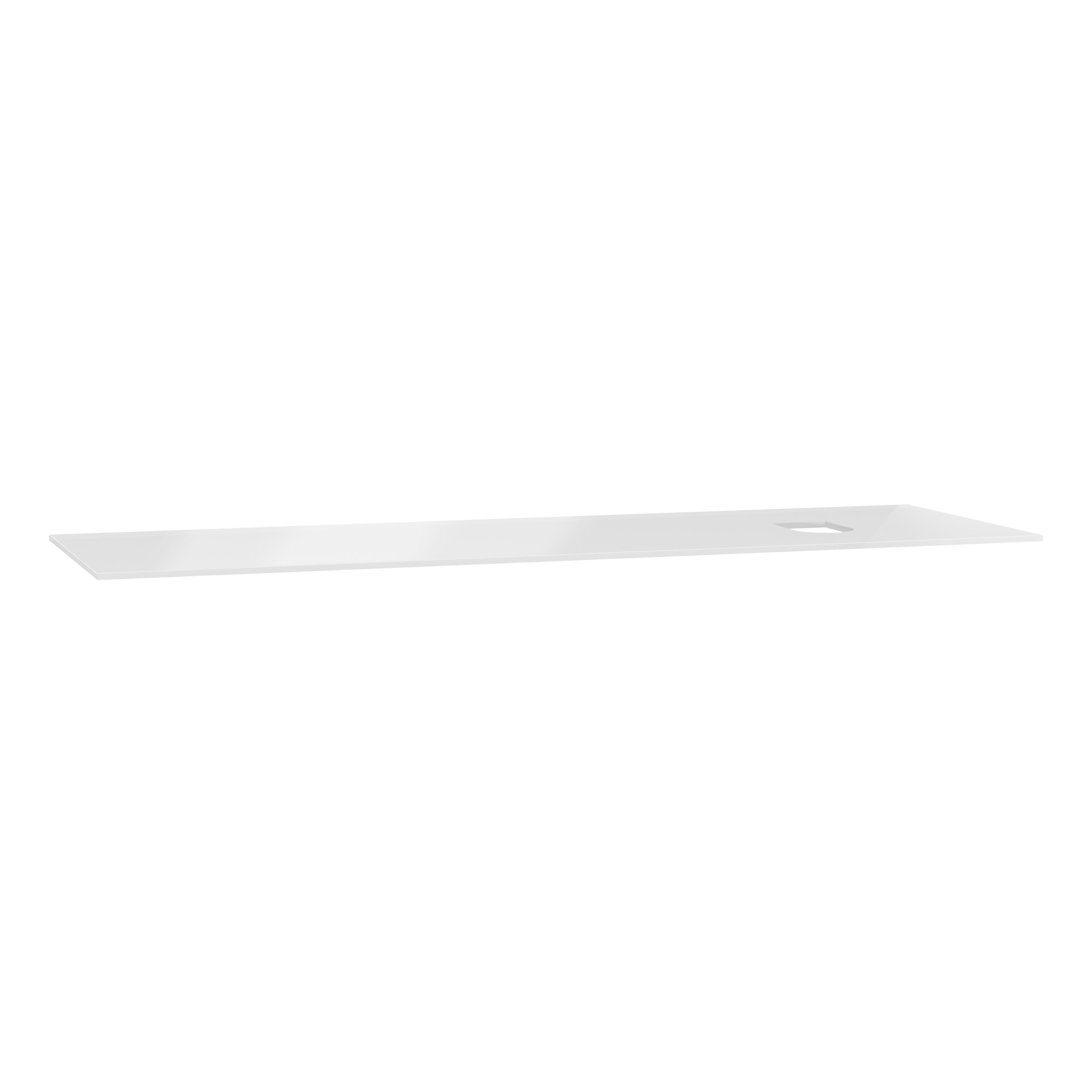 Origin plan de toilette, 150 cm, verre blanc, droite