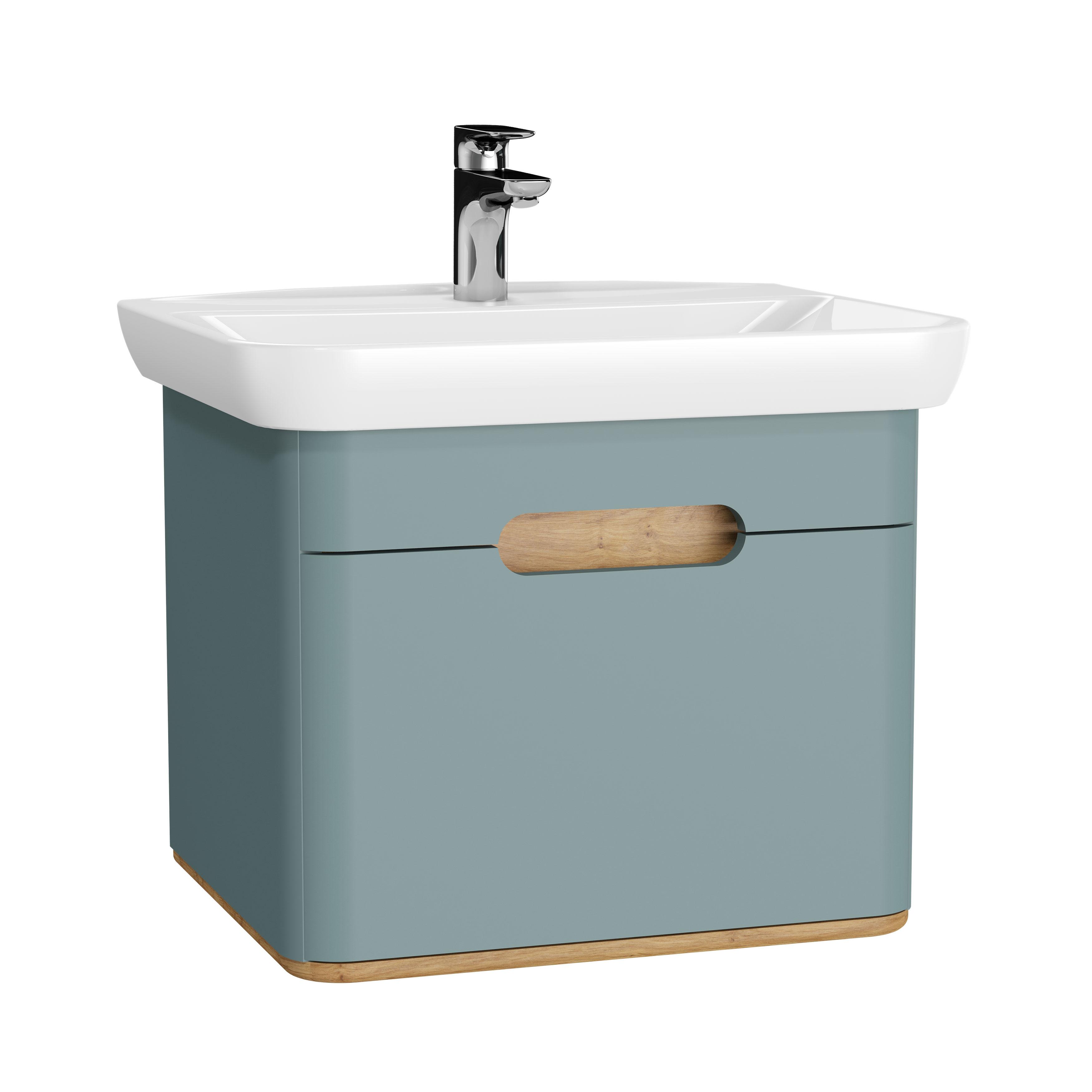 Sento meuble avec plan céramique, 1 tiroir coulissante, 63 cm, vert fjord mat