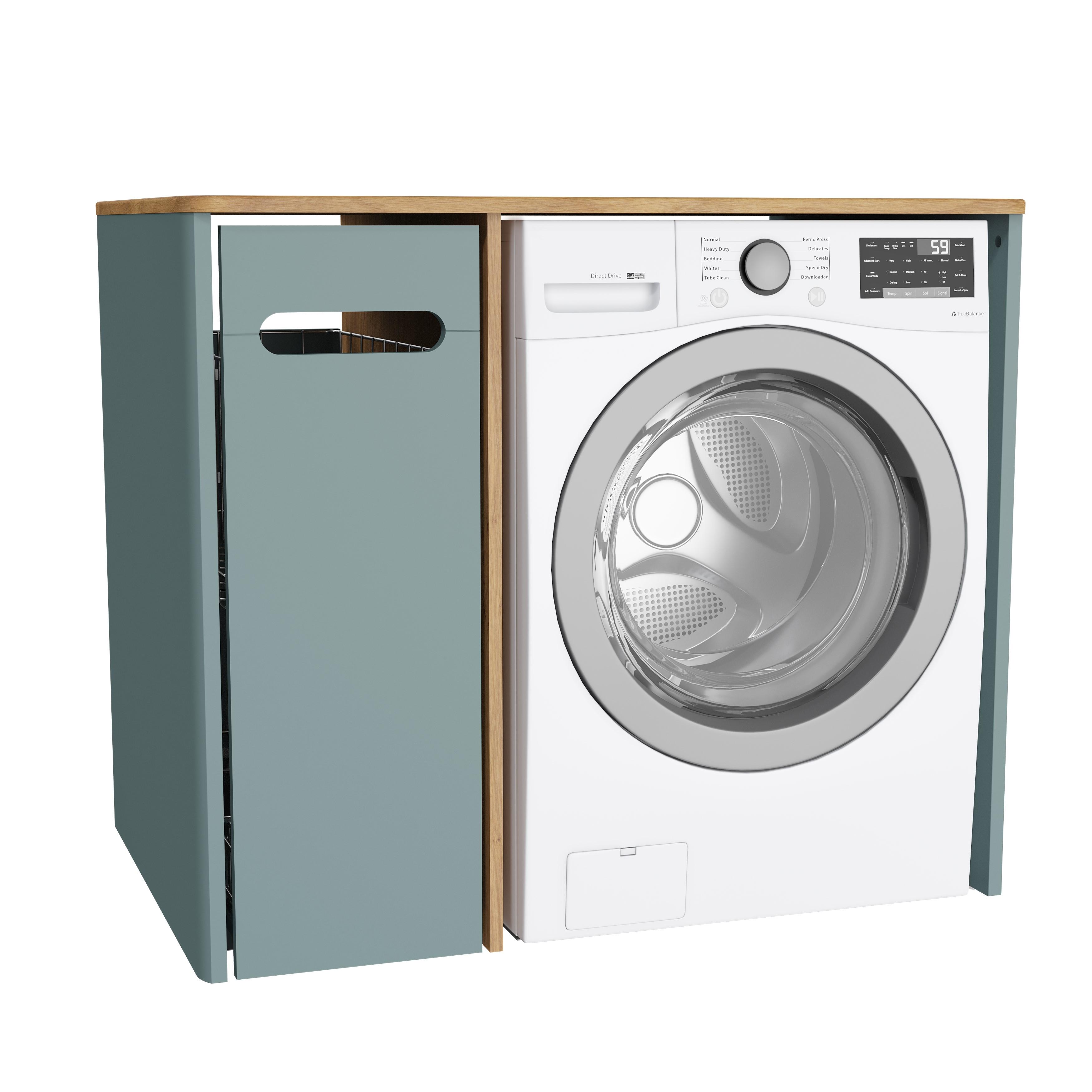Sento unité lave-linge, avec corbeille à linge à gauche, 105 cm, vert fjord mat