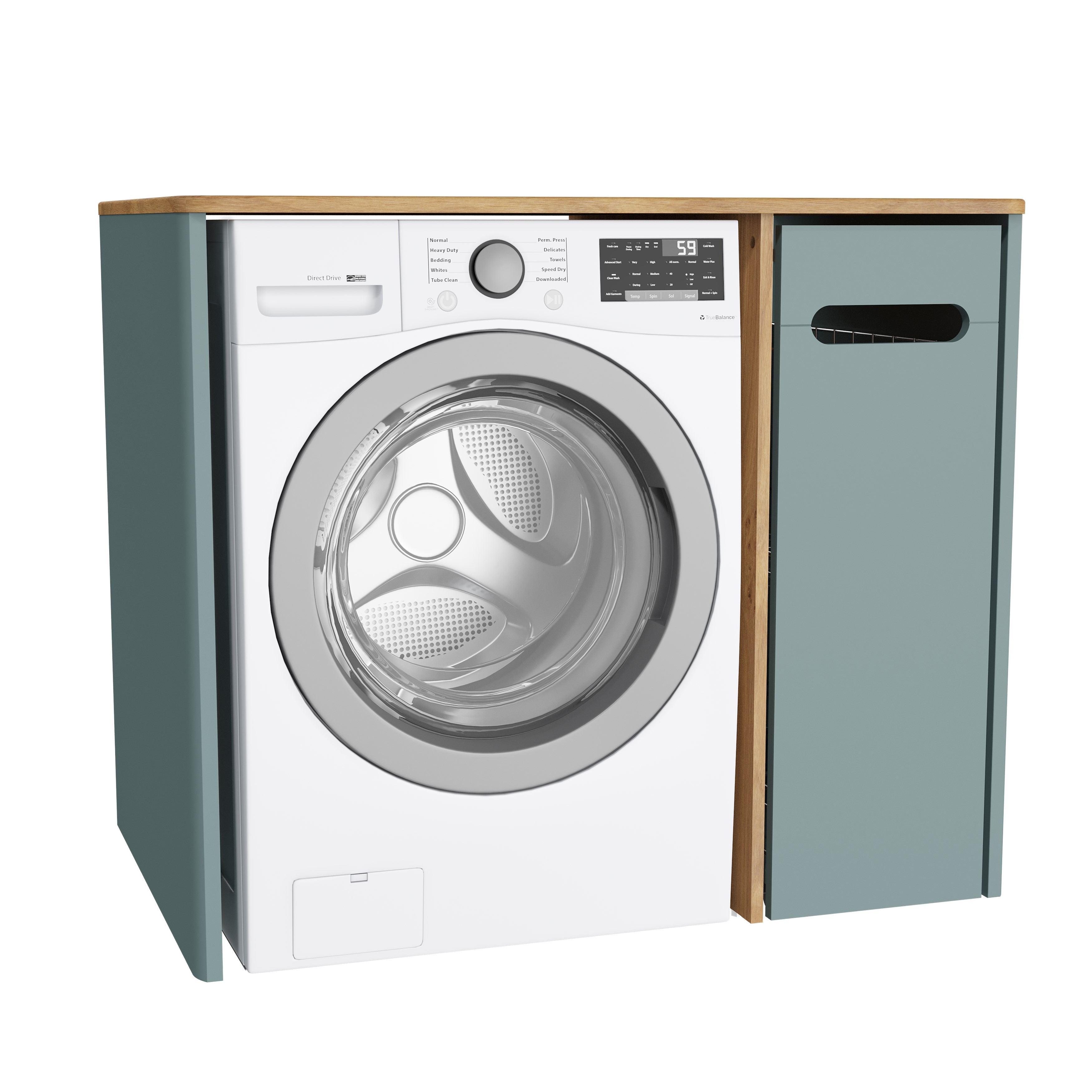 Sento unité lave-linge, avec corbeille à linge à droite, 105 cm, vert fjord mat