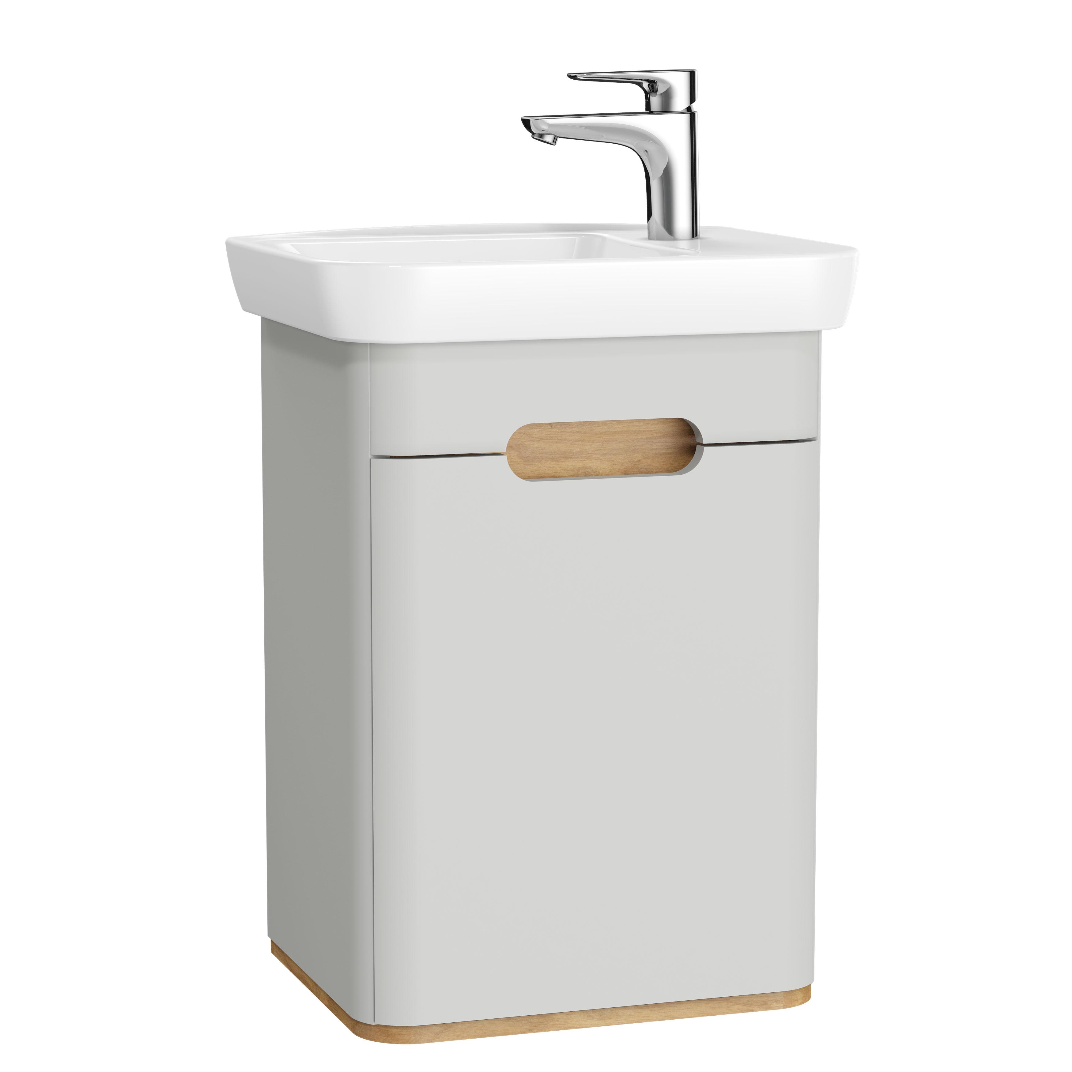 Sento meuble plan céramique, charnière à droite, 50 cm, gris clair mat, porte
