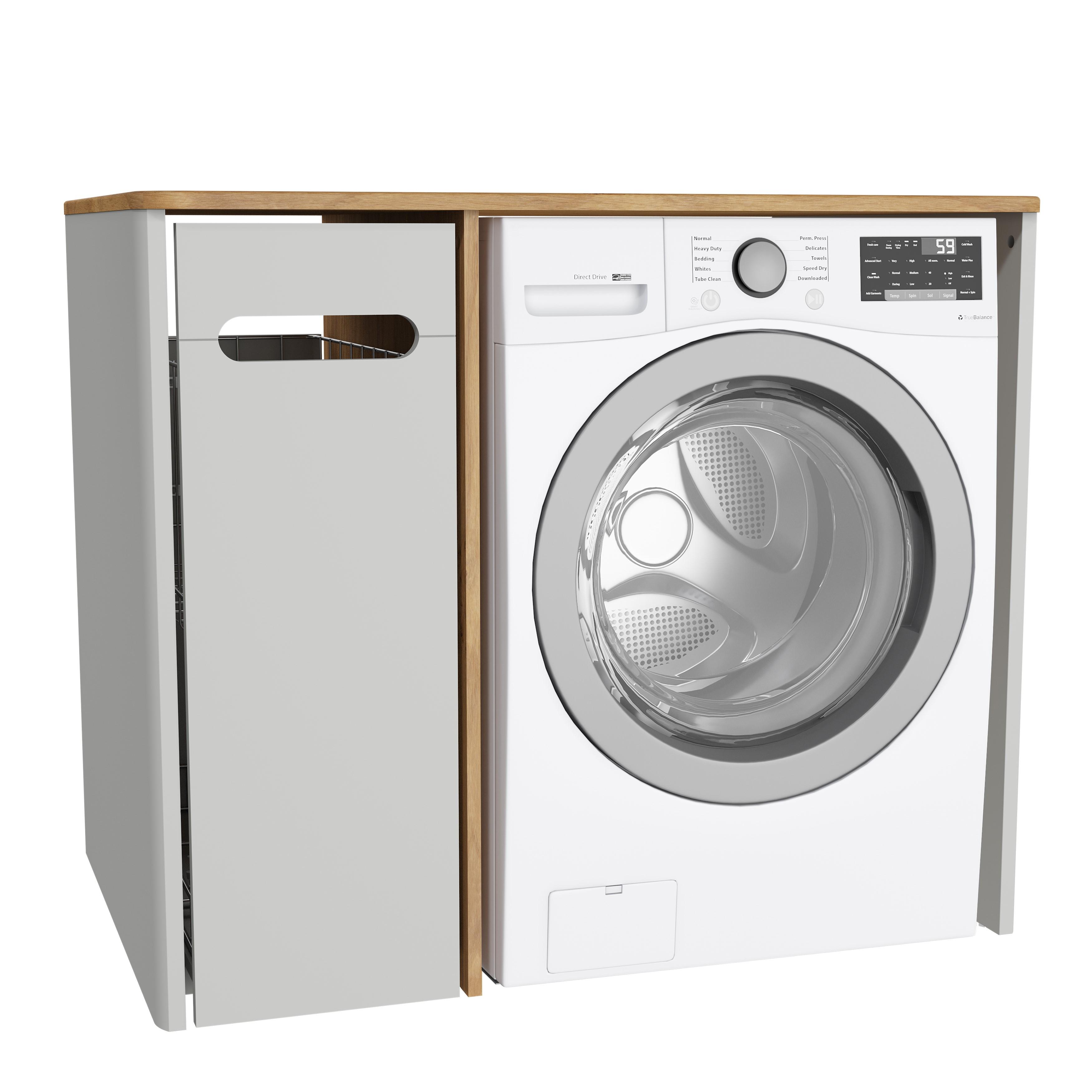 Sento unité lave-linge, avec corbeille à linge à gauche, 105 cm, gris clair mat