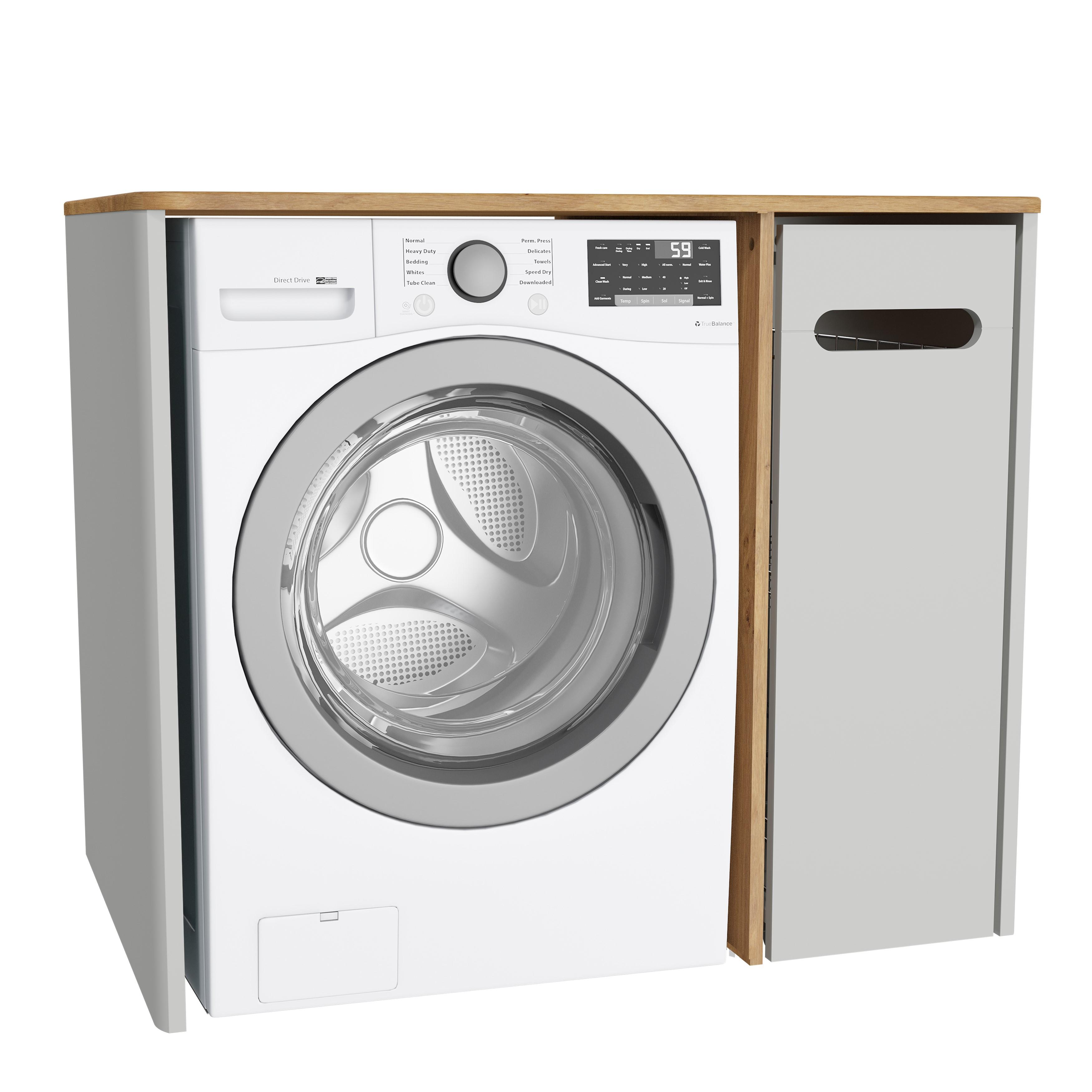 Sento unité lave-linge, avec corbeille à linge à droite, 105 cm, gris clair mat