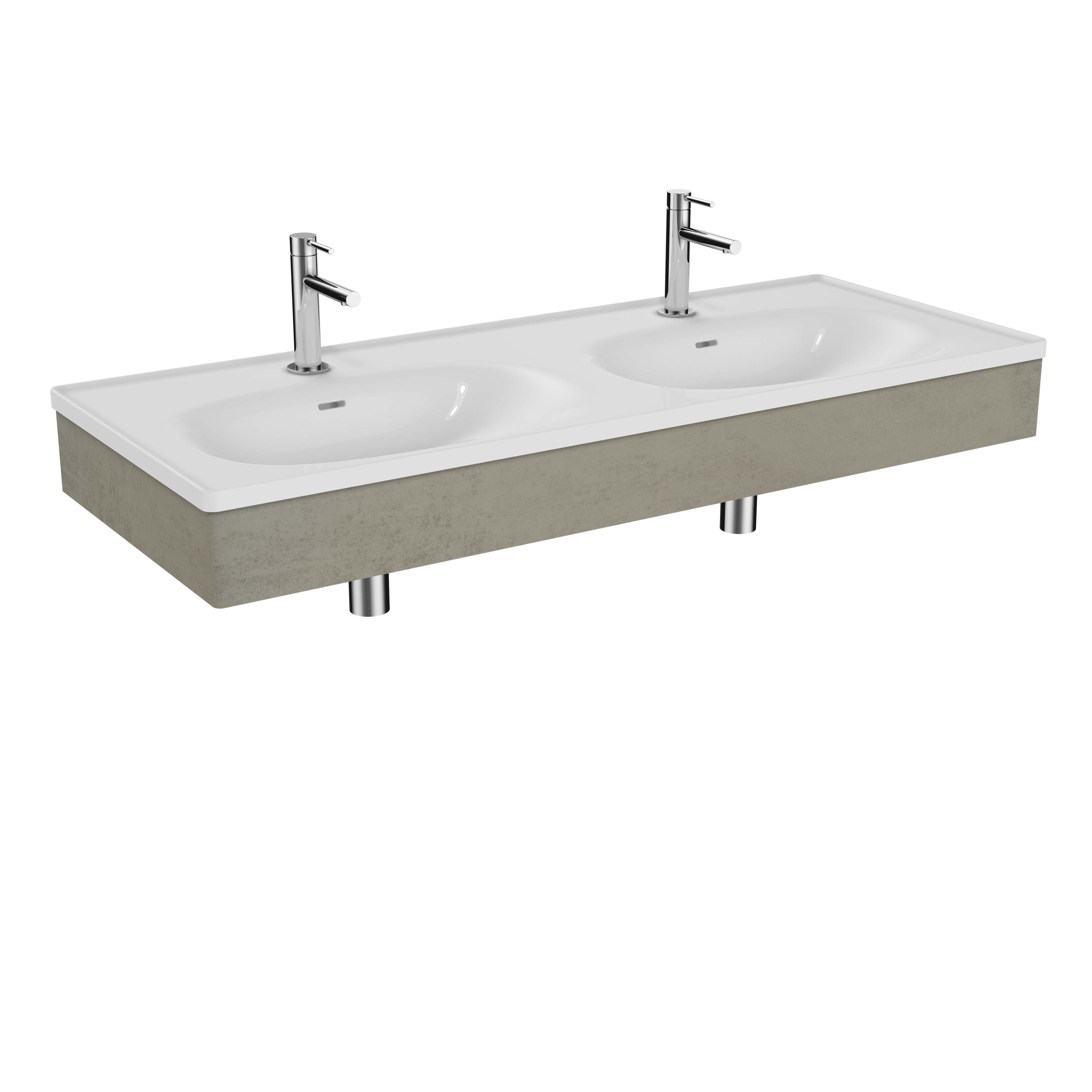 Equal plan céramique, lavabo double, panneau en bois, 130 cm, gris pierre mat / béton