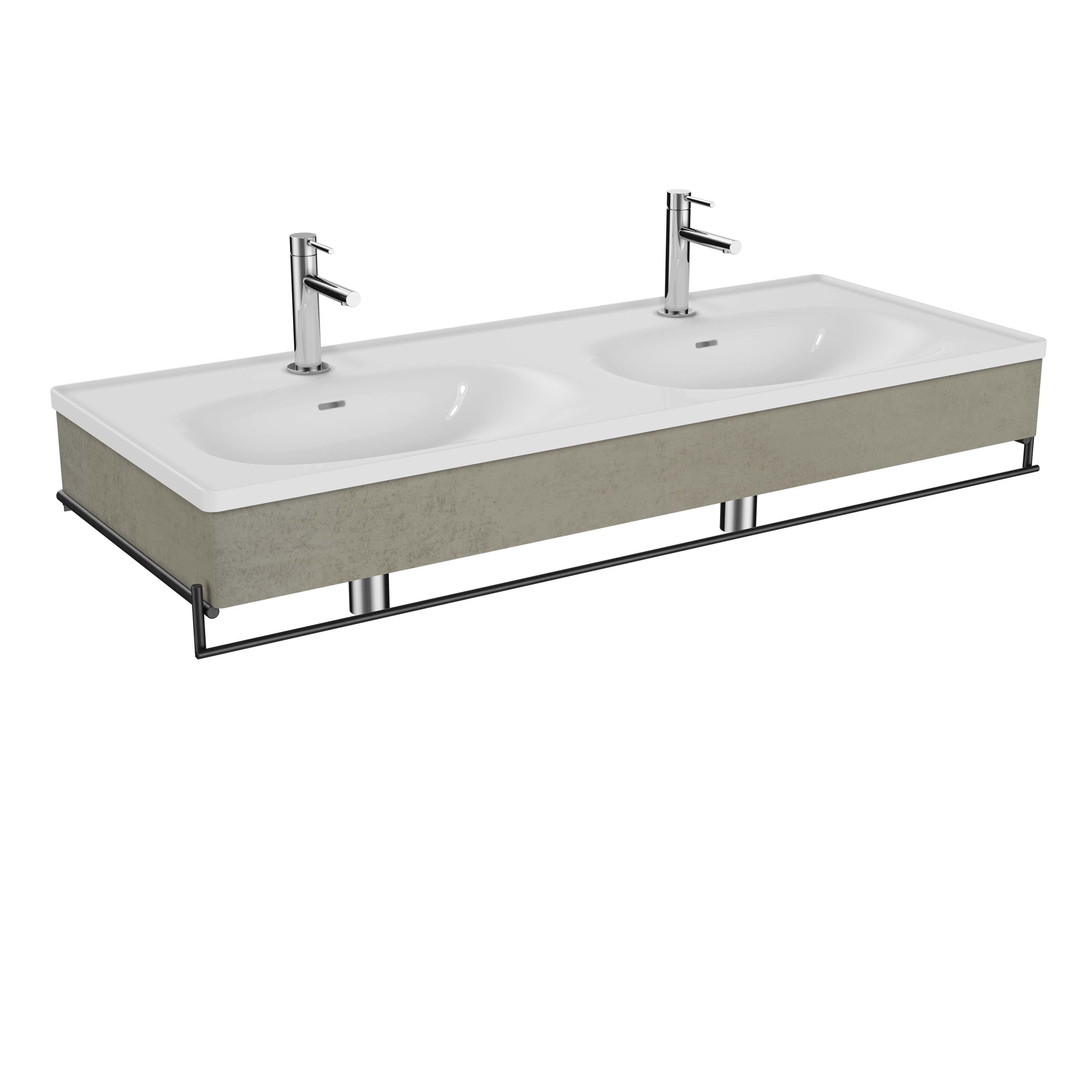 Equal plan céramique, lavabo double, panneau en bois, porte-serviette,130 cm, chêne noir structure