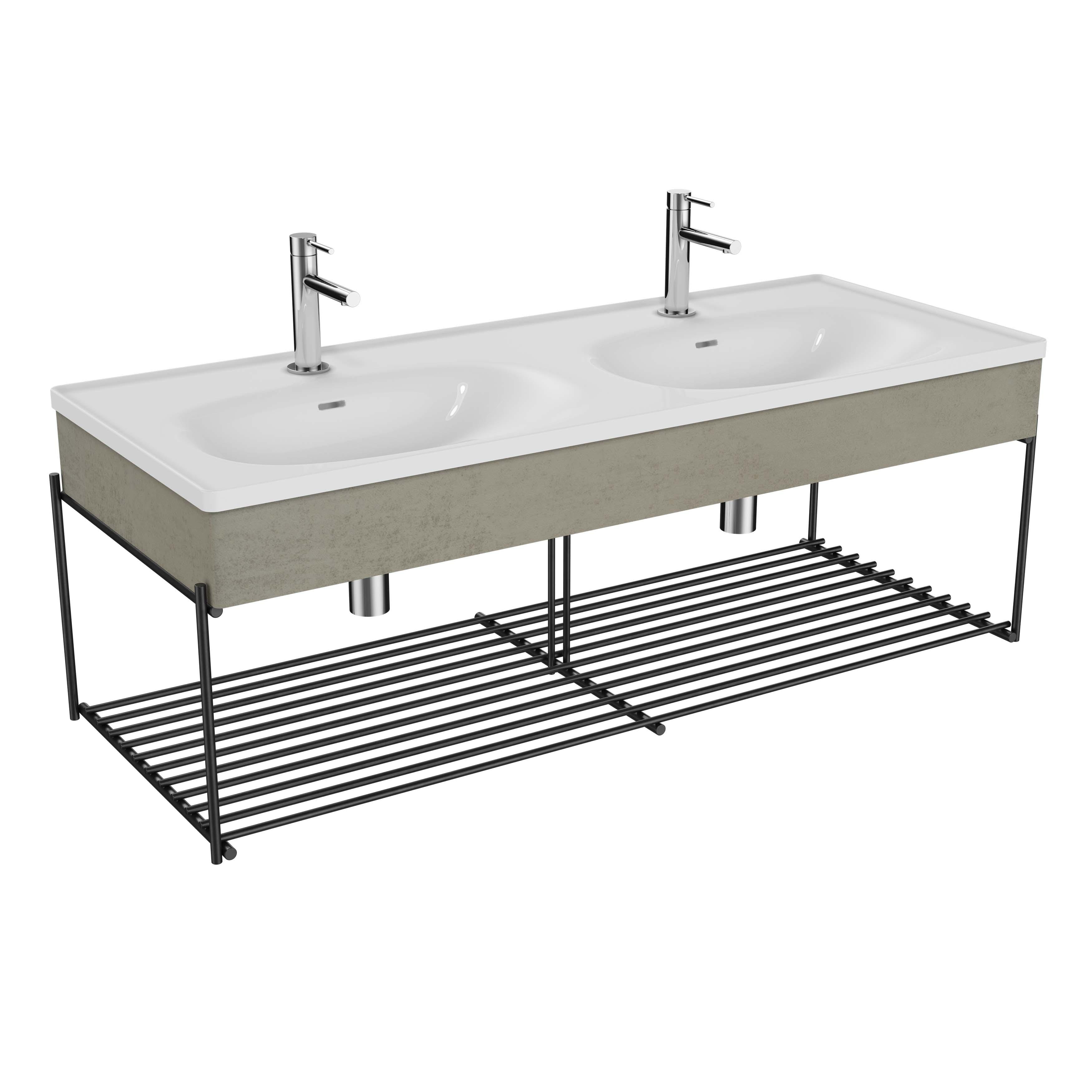Equal plan céramique, lavabo double, panneau en bois, etagère, 130 cm, gris pierre mat / béton