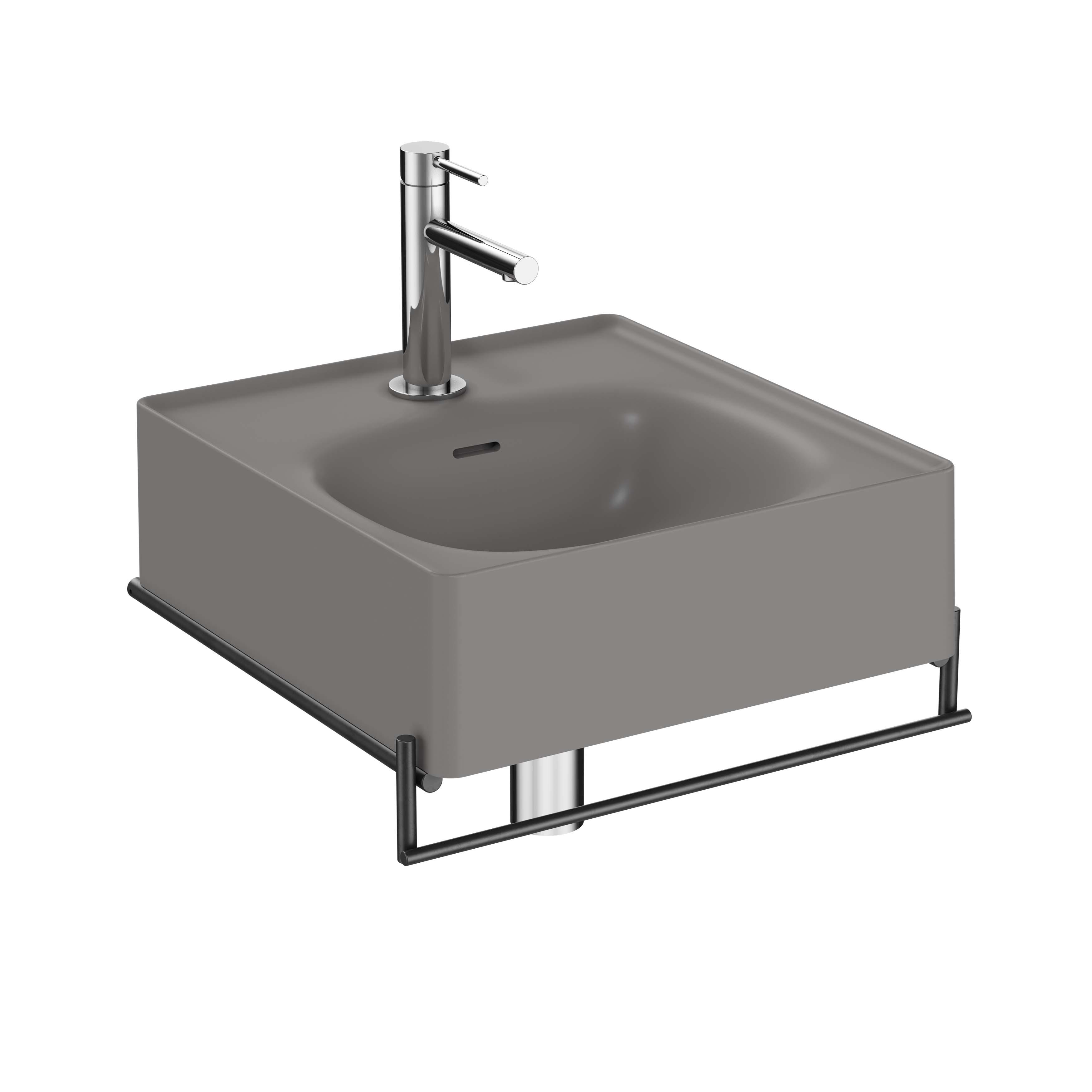 Equal lavabo avec porte-serviettes, 40 cm, gris pierre mat