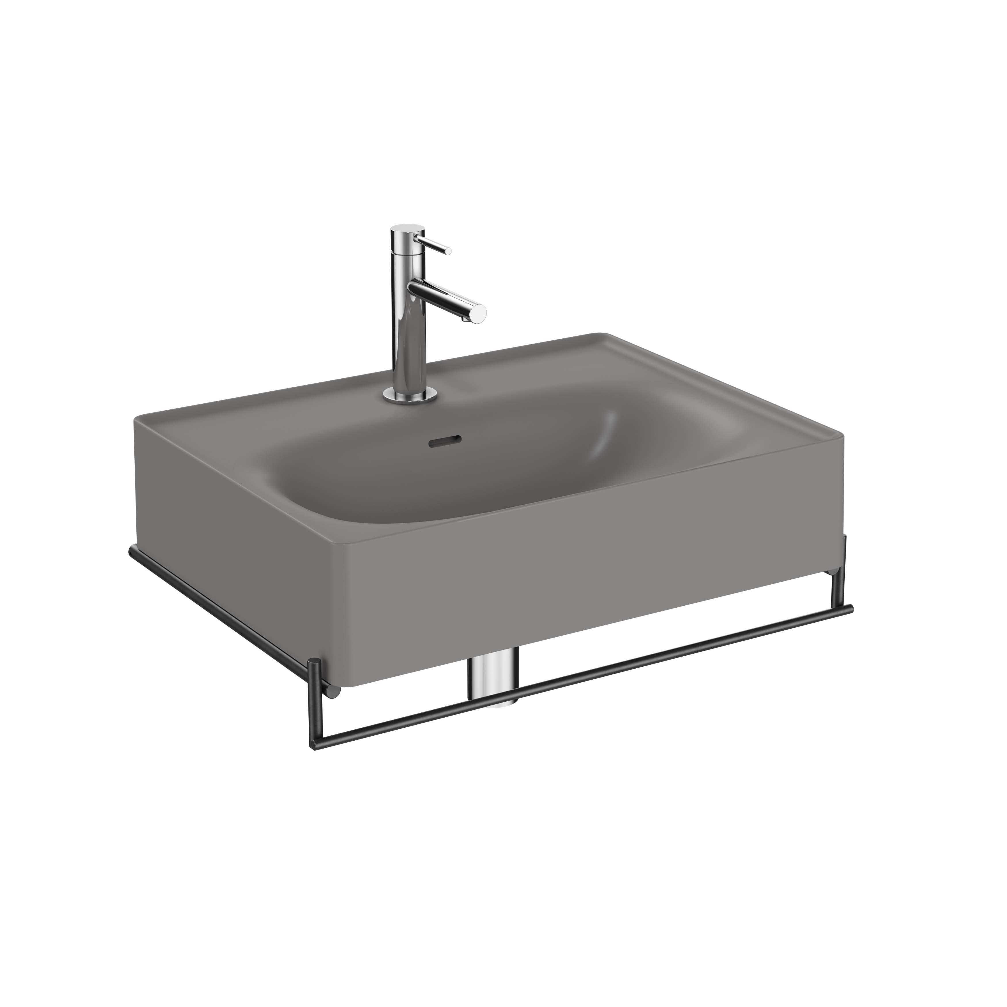 Equal lavabo avec porte-serviettes, 60 cm, gris pierre mat