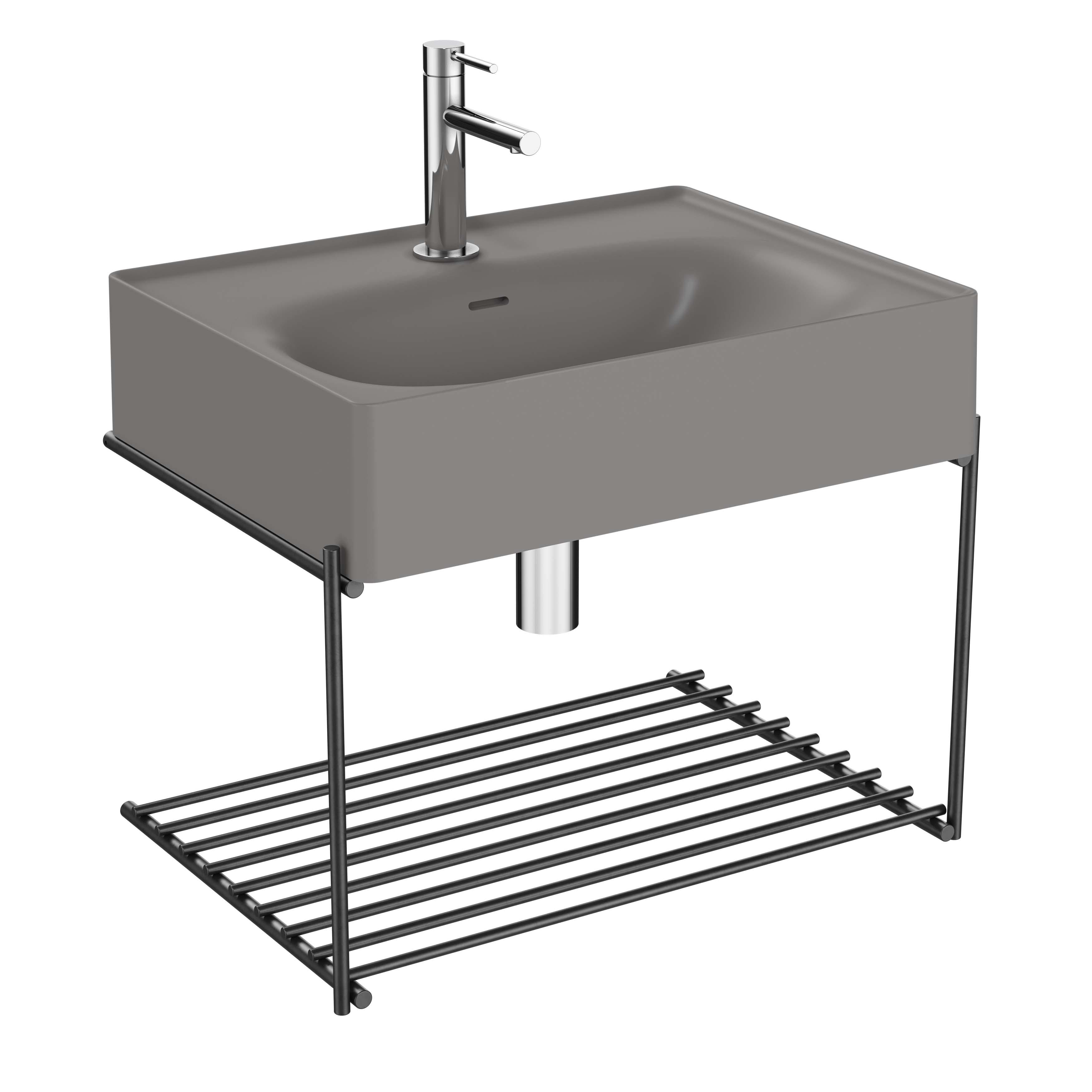 Equal lavabo avec étagère, 60 cm, gris pierre mat