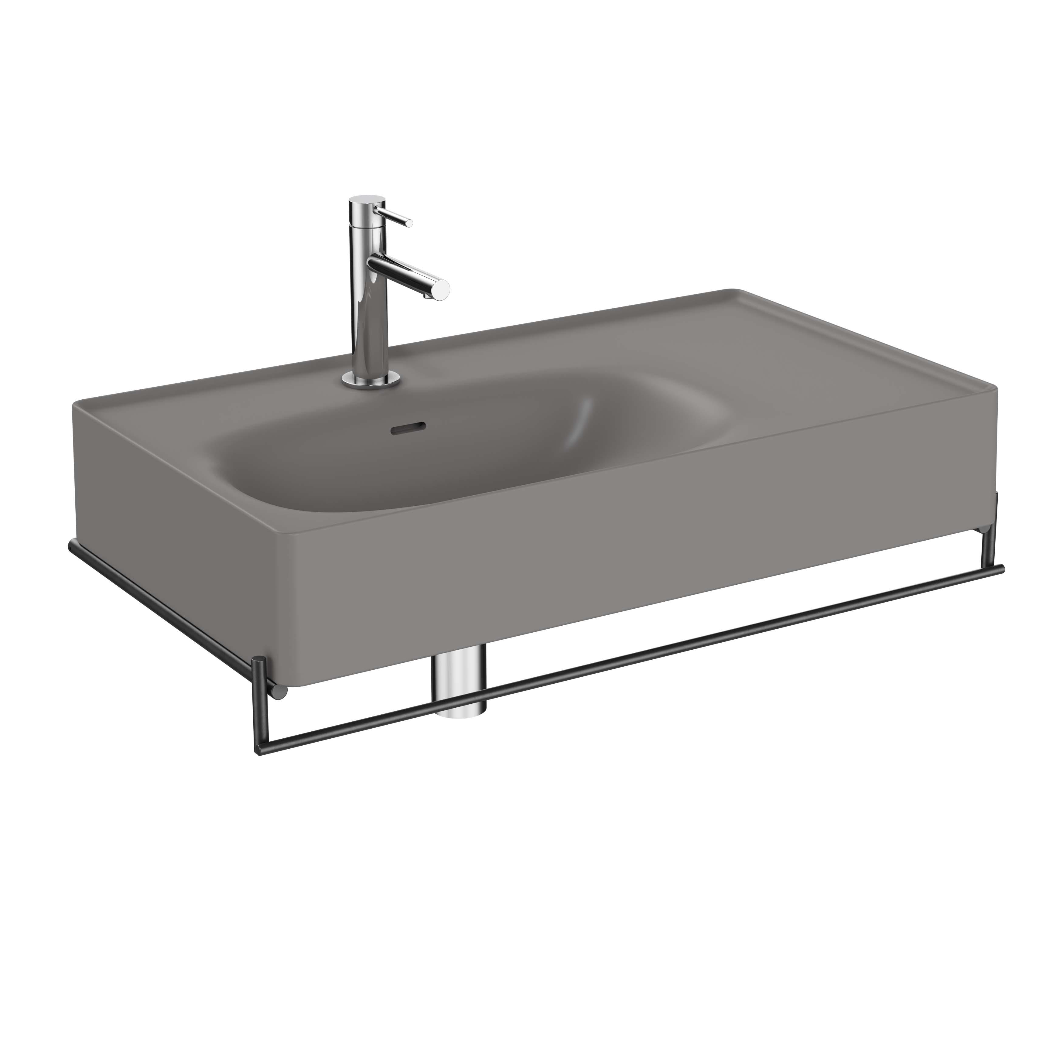 Equal lavabo asymétrique avec porte-serviettes, 80 cm, gris pierre mat