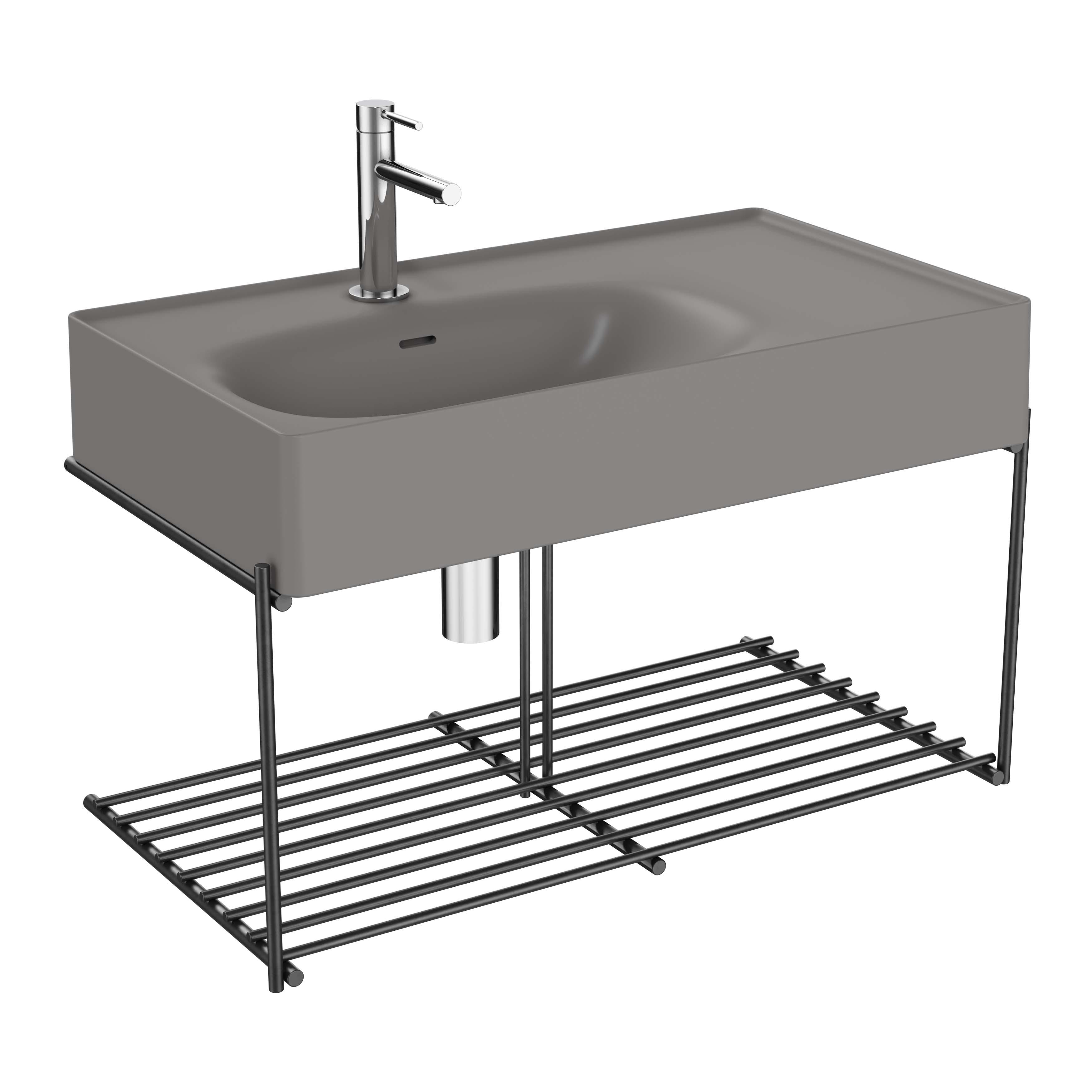Equal lavabo asymétrique avec étagère, 80 cm, gris pierre mat