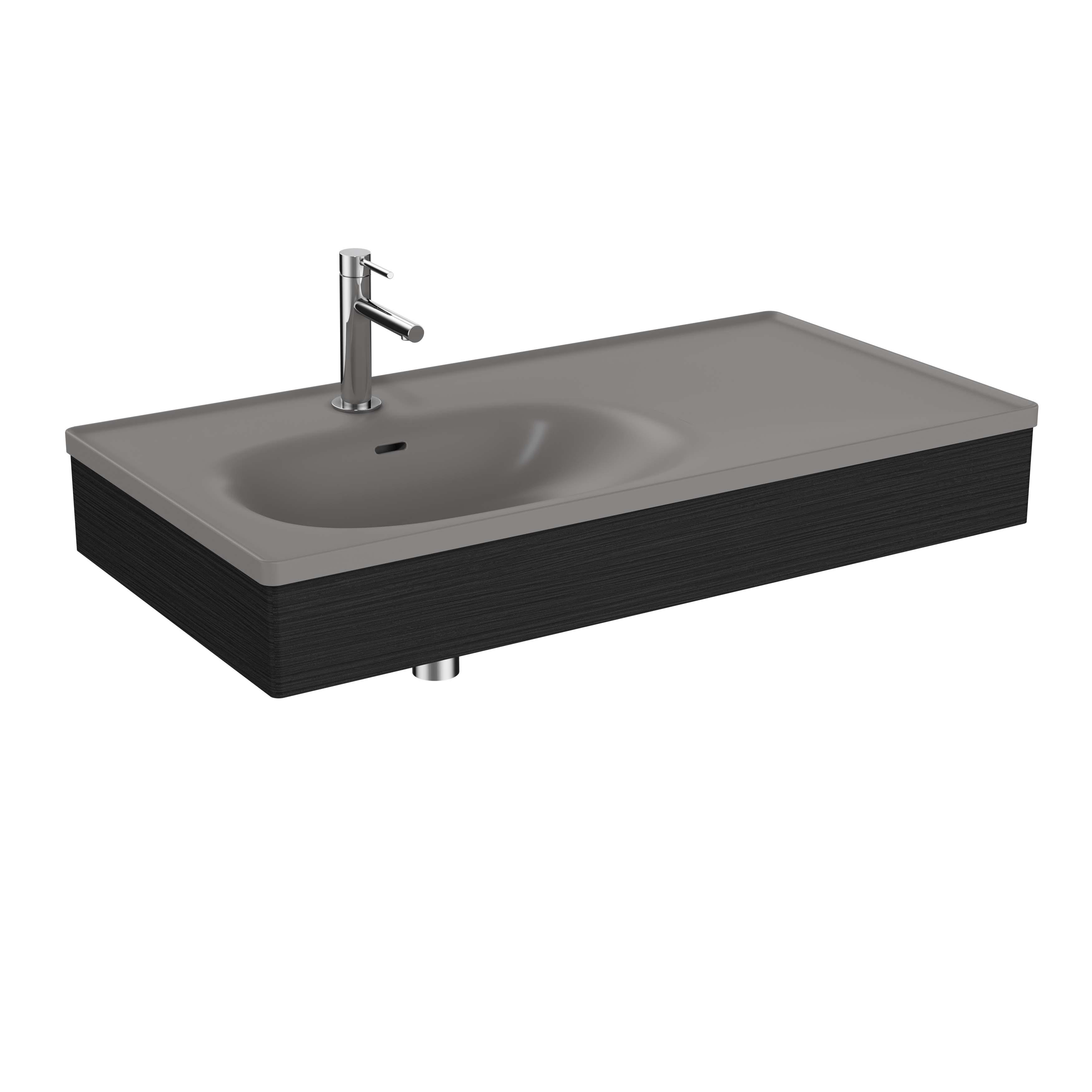 Equal plan céramique, asymétrique, panneau en bois, 100 cm, gris pierre mat / chêne noir structure