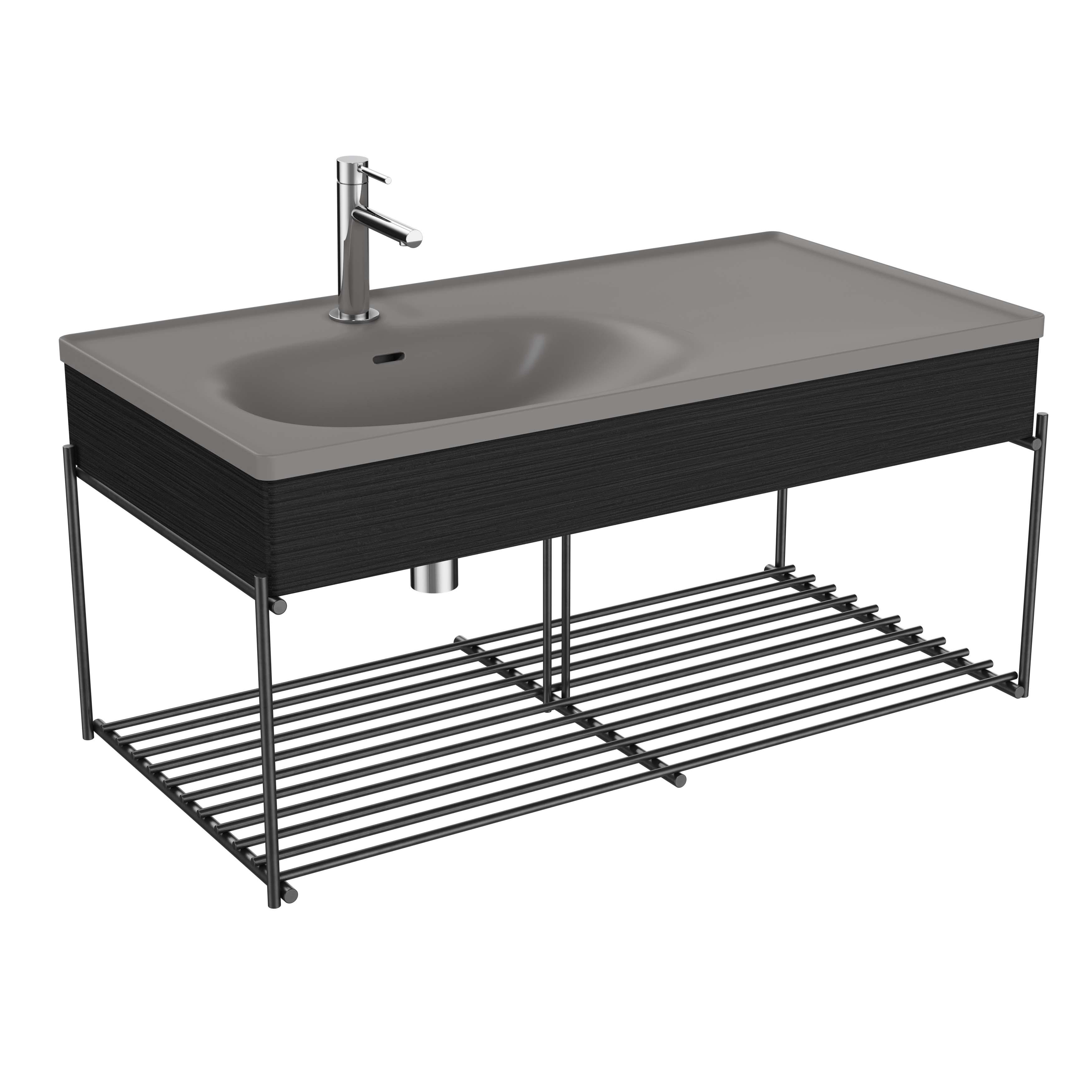 Equal plan céramique, asymétrique, panneau en bois, étagère, 100 cm, gris pierre mat / chêne noir structure