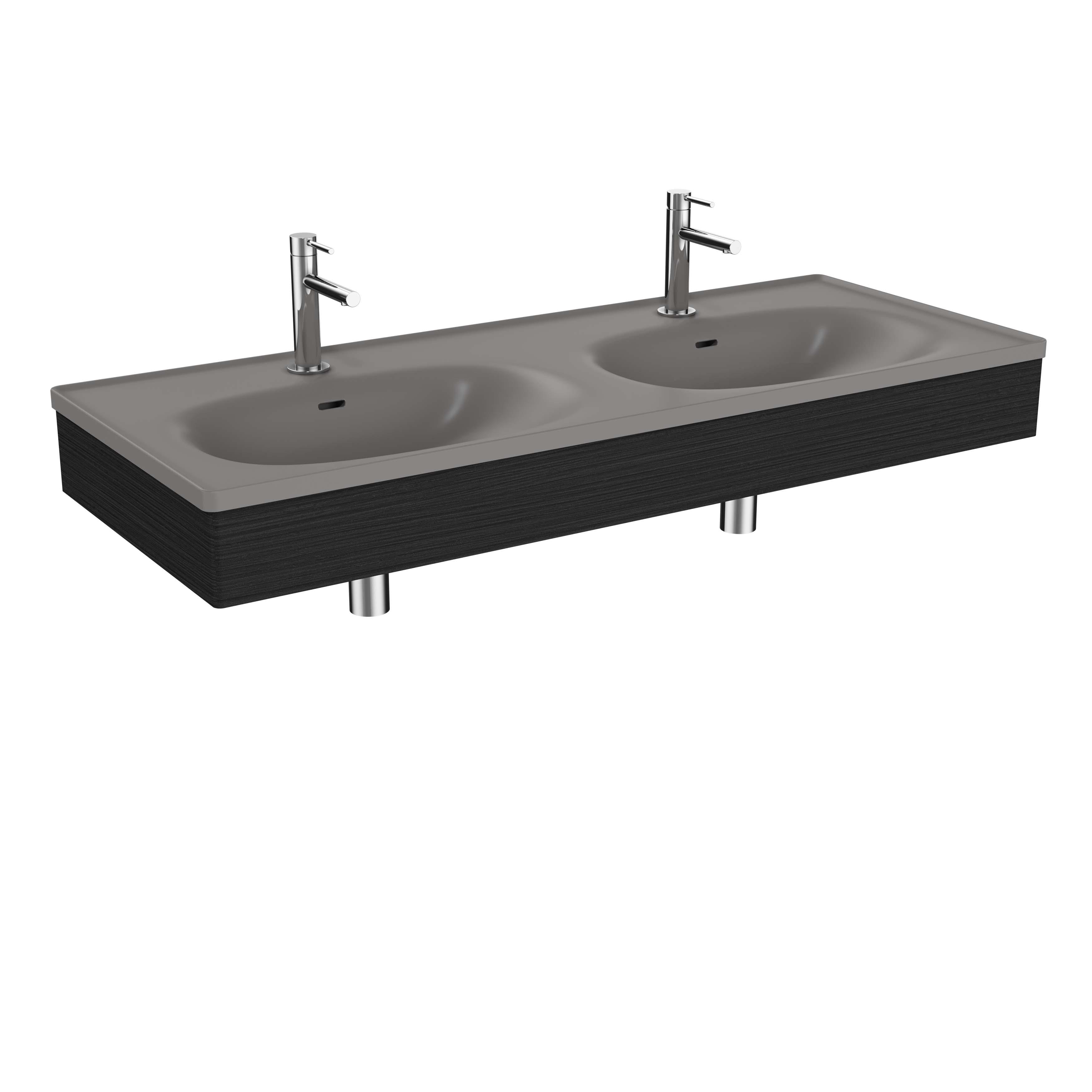 Equal plan céramique, lavabo double, panneau en bois, 130 cm, gris pierre mat / chêne noir structure