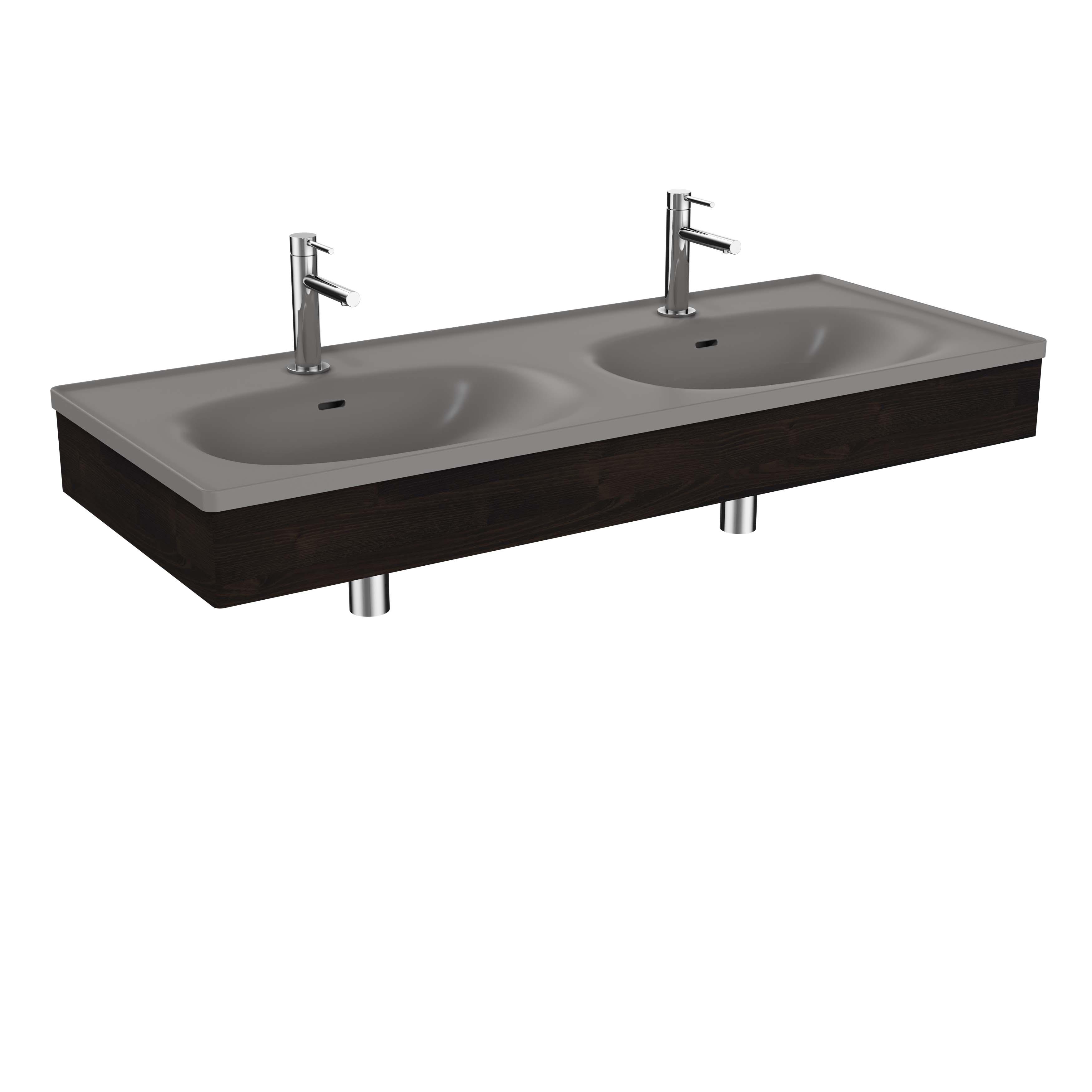 Equal plan céramique, lavabo double, panneau en bois, 130 cm, gris pierre mat / orme