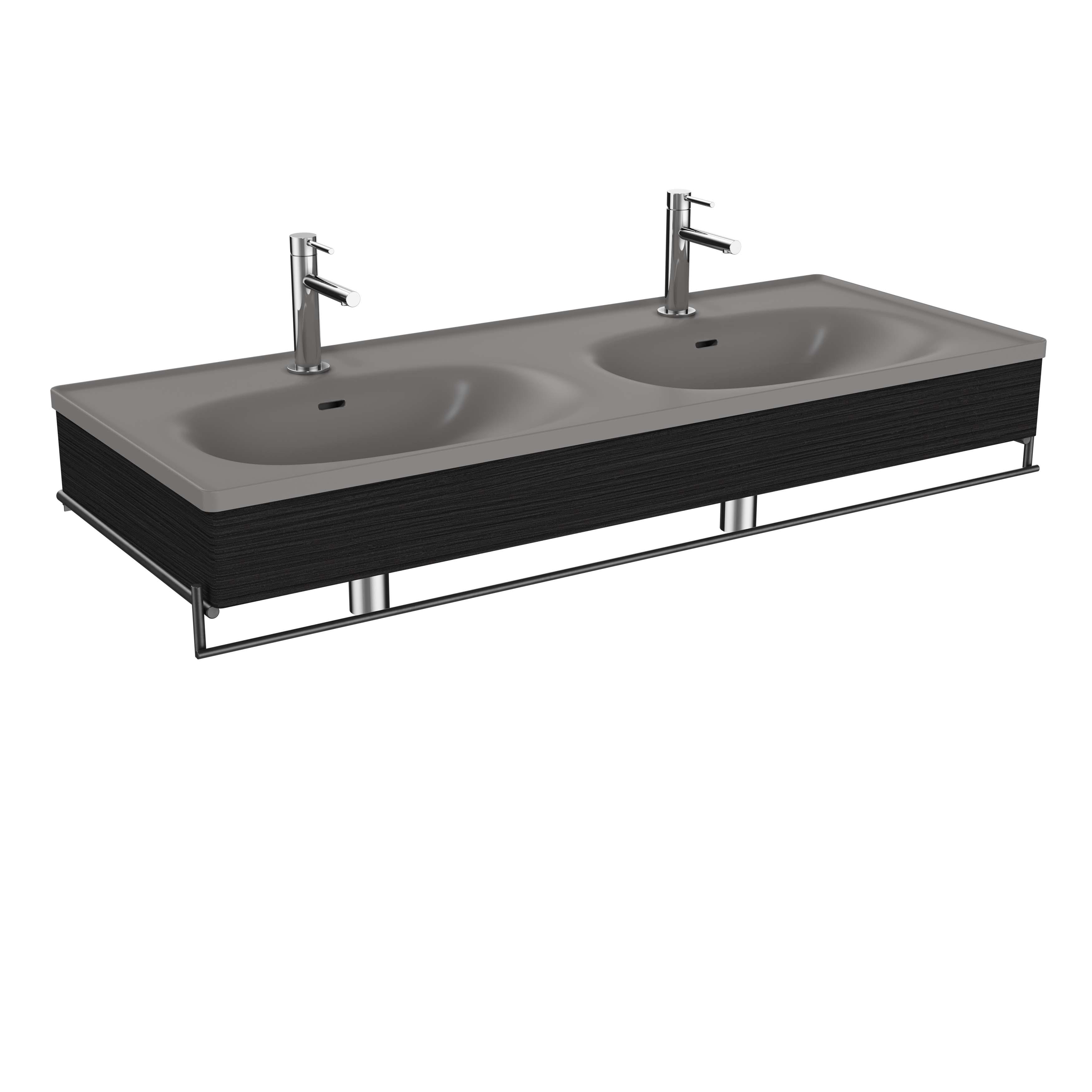 Equal plan céramique, lavabo double, panneau en bois et porte-serviette., 130 cm, chêne noir structure