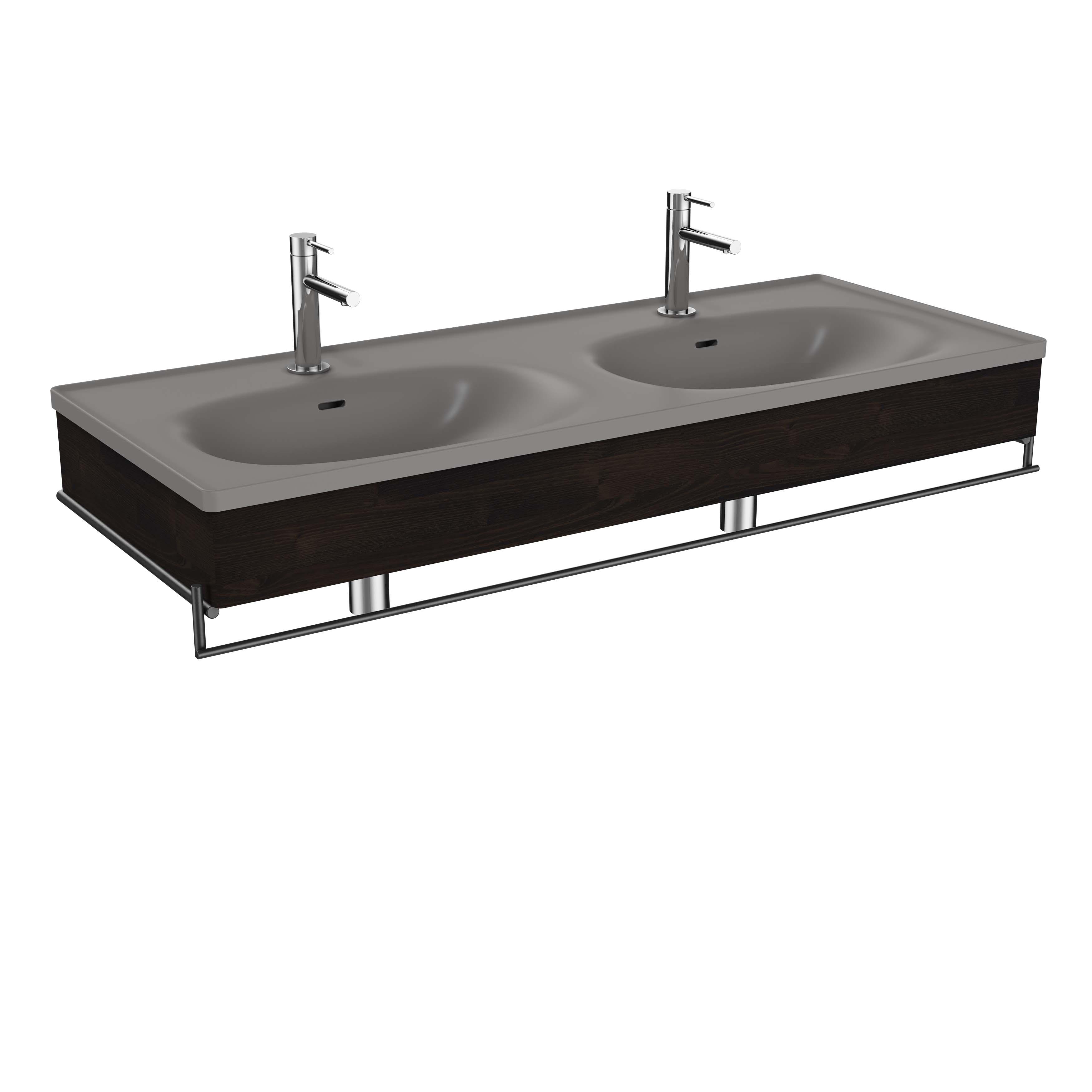 Equal plan céramique, lavabo double, panneau en bois, porte-serviette, 130 cm, gris pierre mat / orme