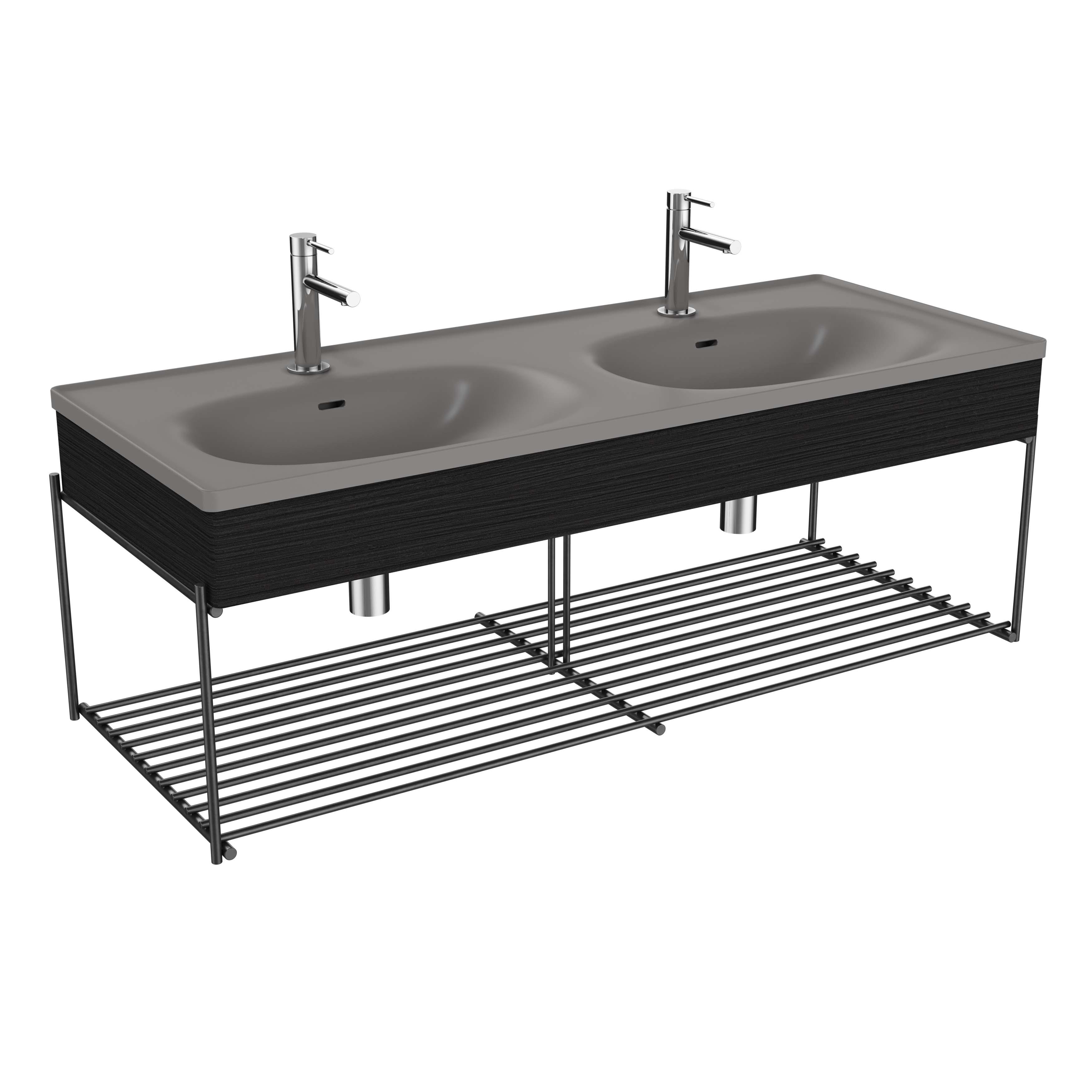 Equal plan céramique, lavabo double, panneauen bois, étagère, 130 cm, gris pierre mat / chêne noir structure