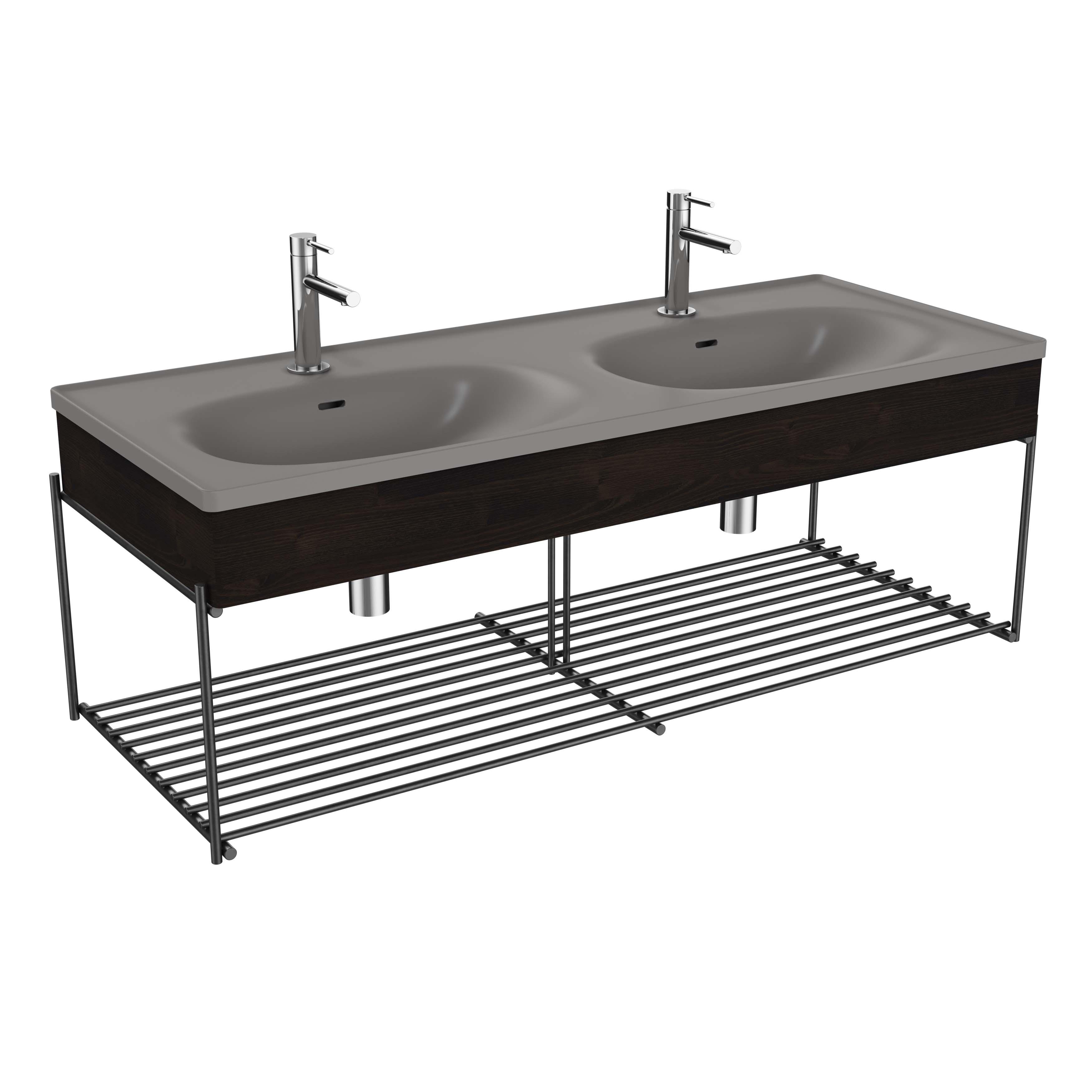 Equal plan céramique, lavabo double, panneau en bois, étagère, 130 cm, gris pierre mat / orme