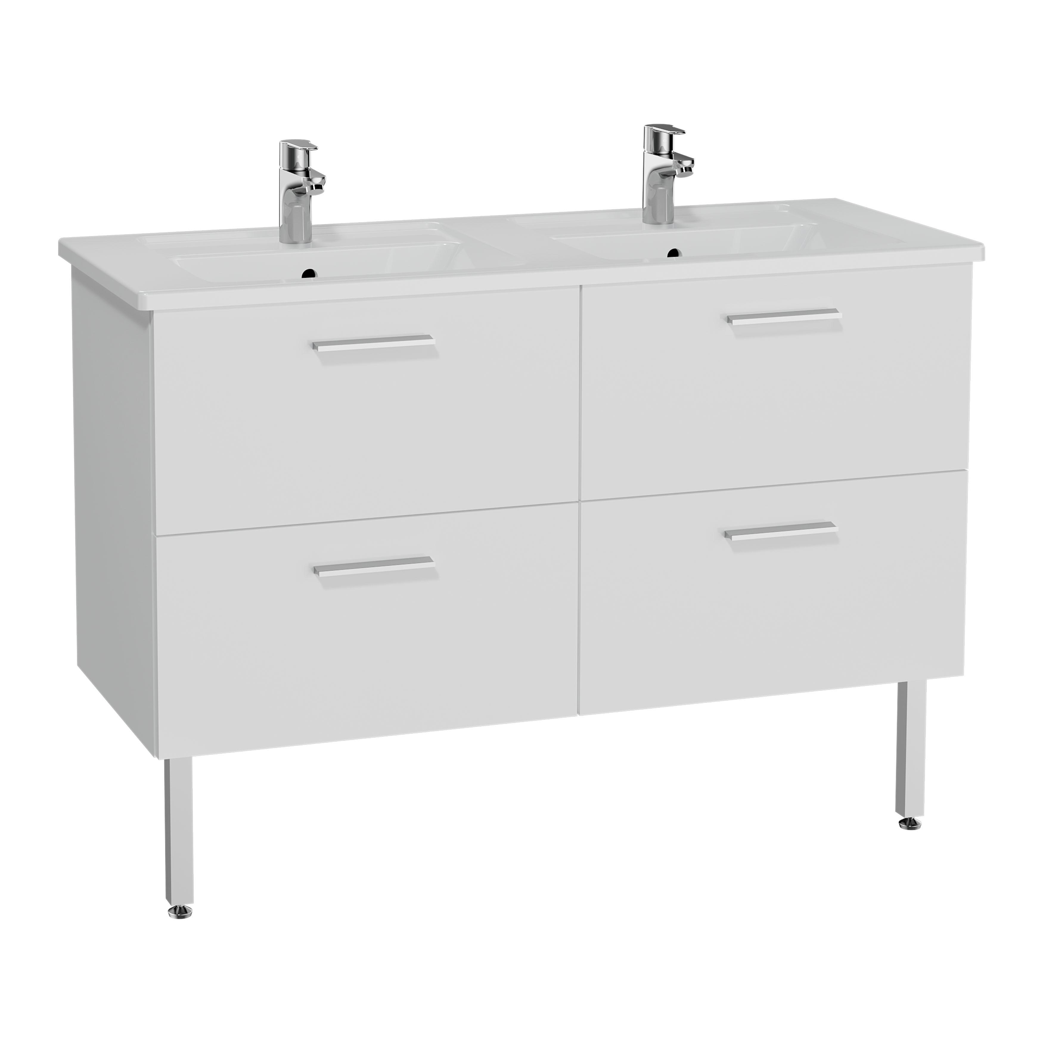 Mia set de meuble, avec 4 tiroirs, sans miroir et éclairage, 120 cm, blanc
