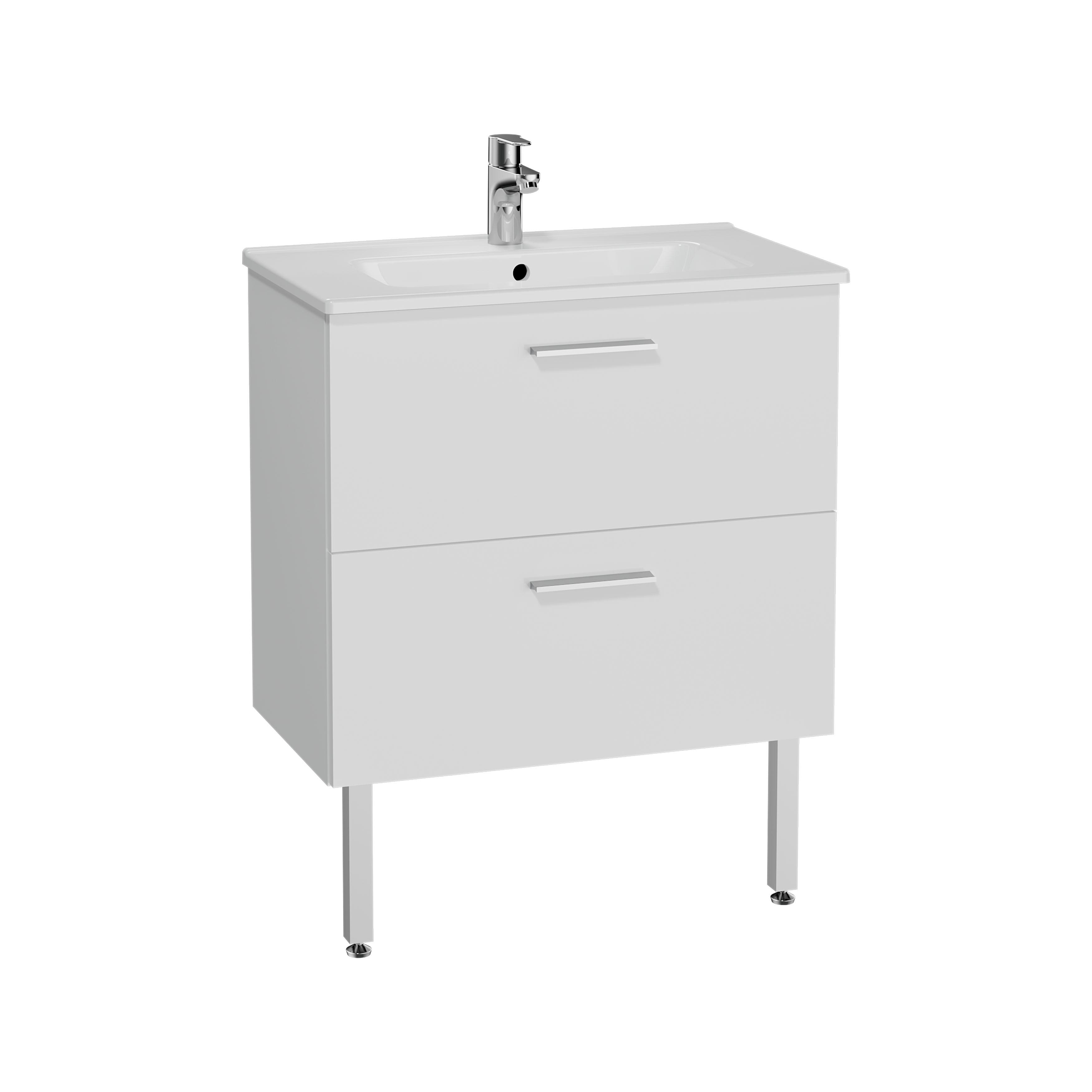 Mia set de meuble, avec 2 tiroirs, sans miroir et éclairage, 70 cm, blanc
