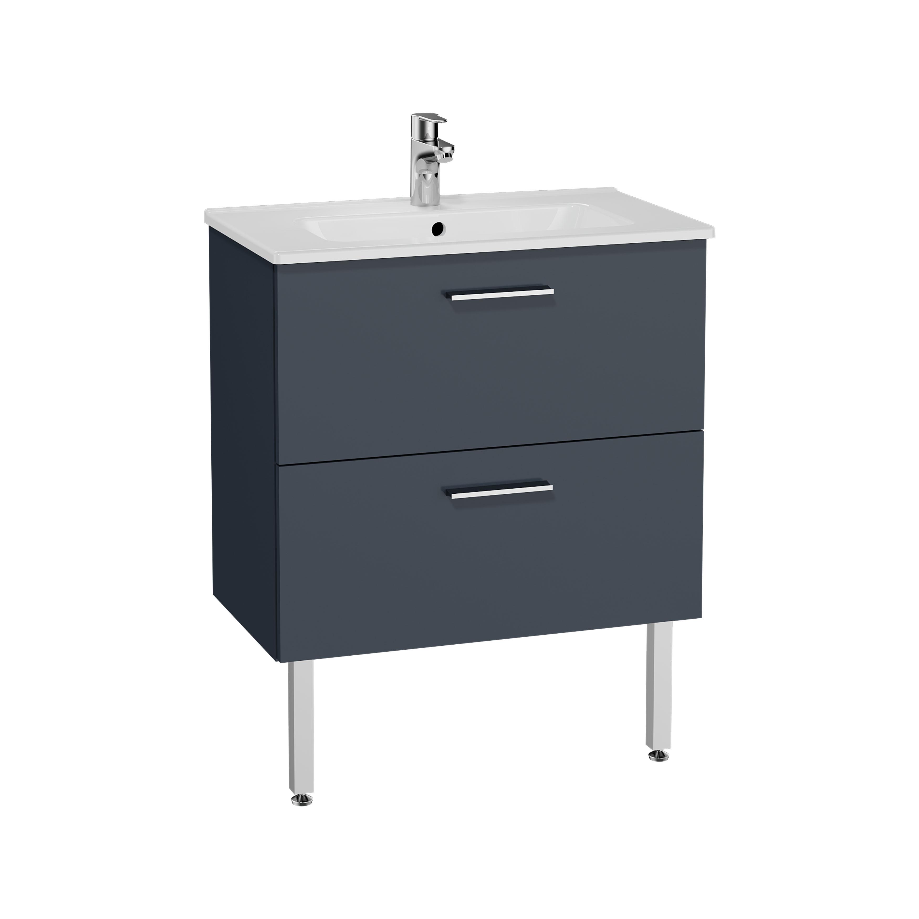 Mia set de meuble, avec 2 tiroirs, sans miroir et éclairage, 70 cm, anthraciteacite