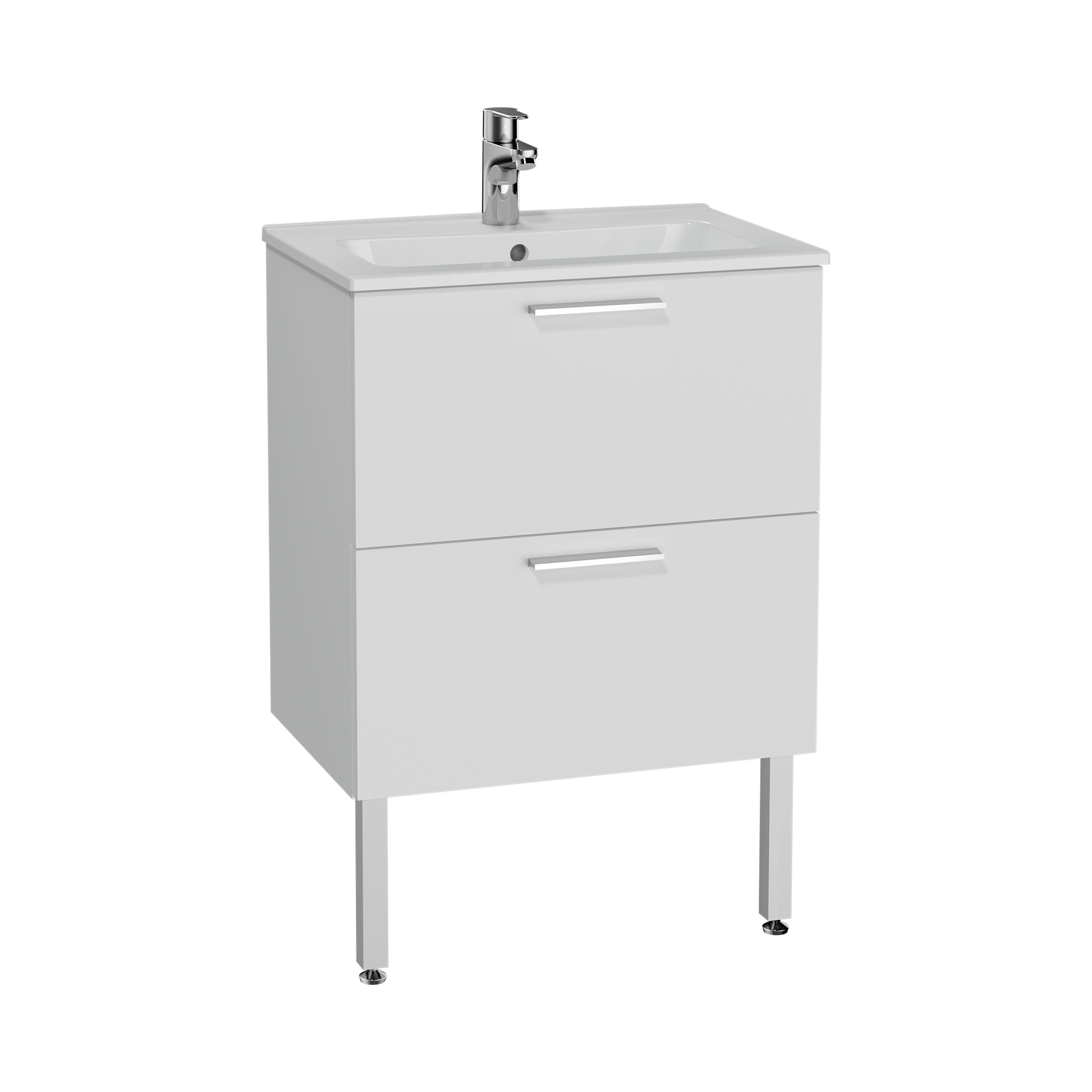Mia set de meuble, avec 2 tiroirs, sans miroir et éclairage, 60 cm, blanc