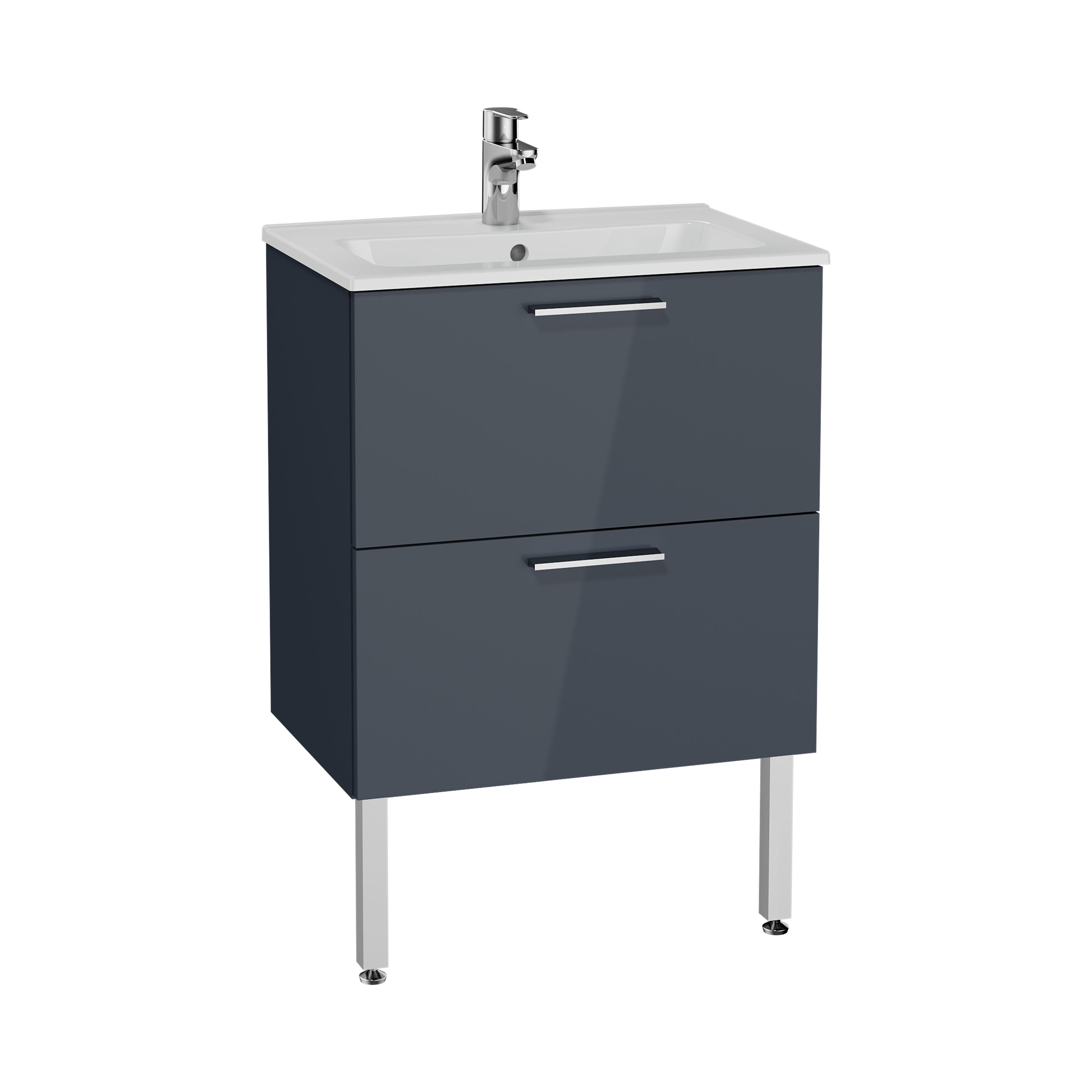 Mia set de meuble, avec 2 tiroirs, sans miroir et éclairage, 60 cm, anthraciteacite