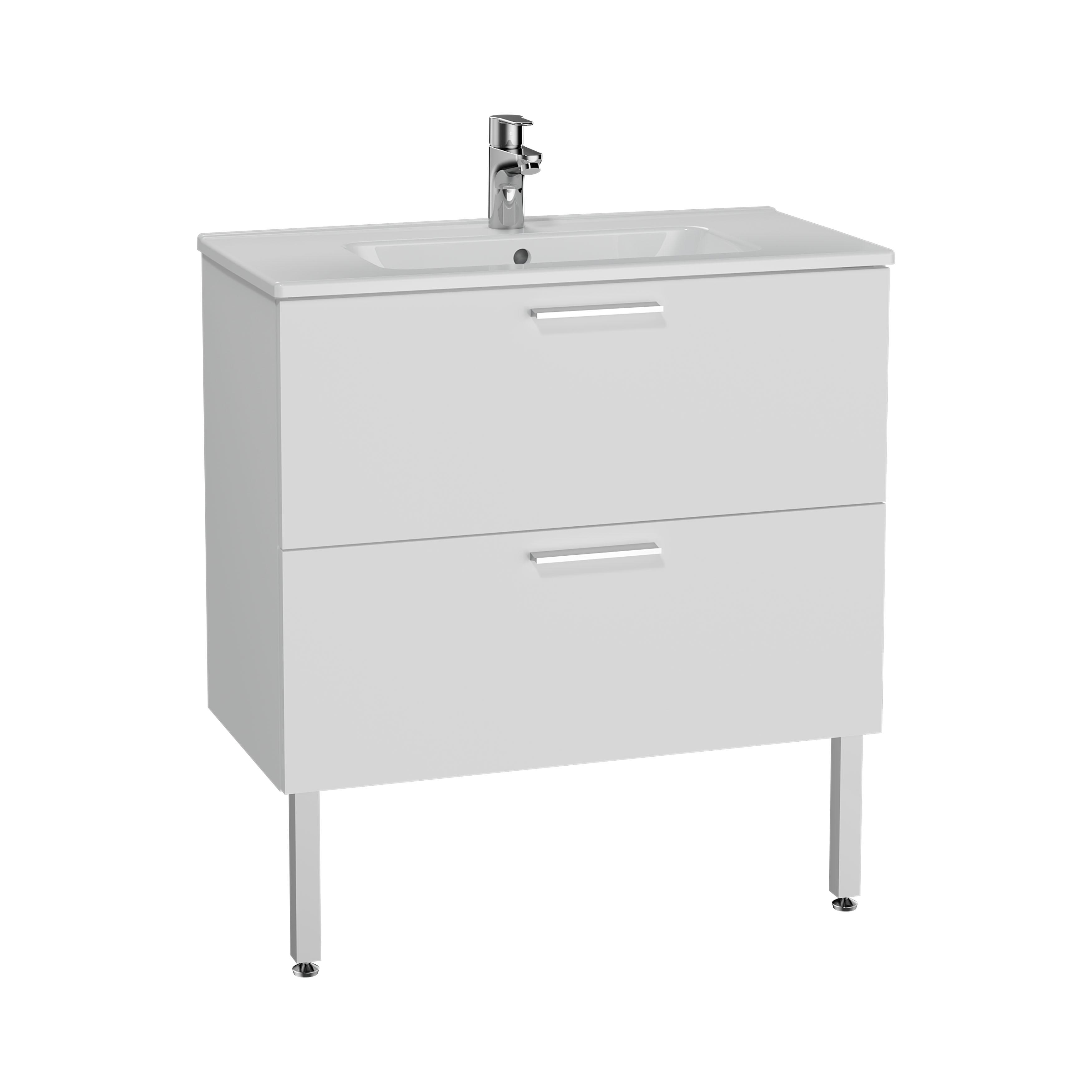Mia set de meuble, avec 2 tiroirs, sans miroir et éclairage, 80 cm, blanc