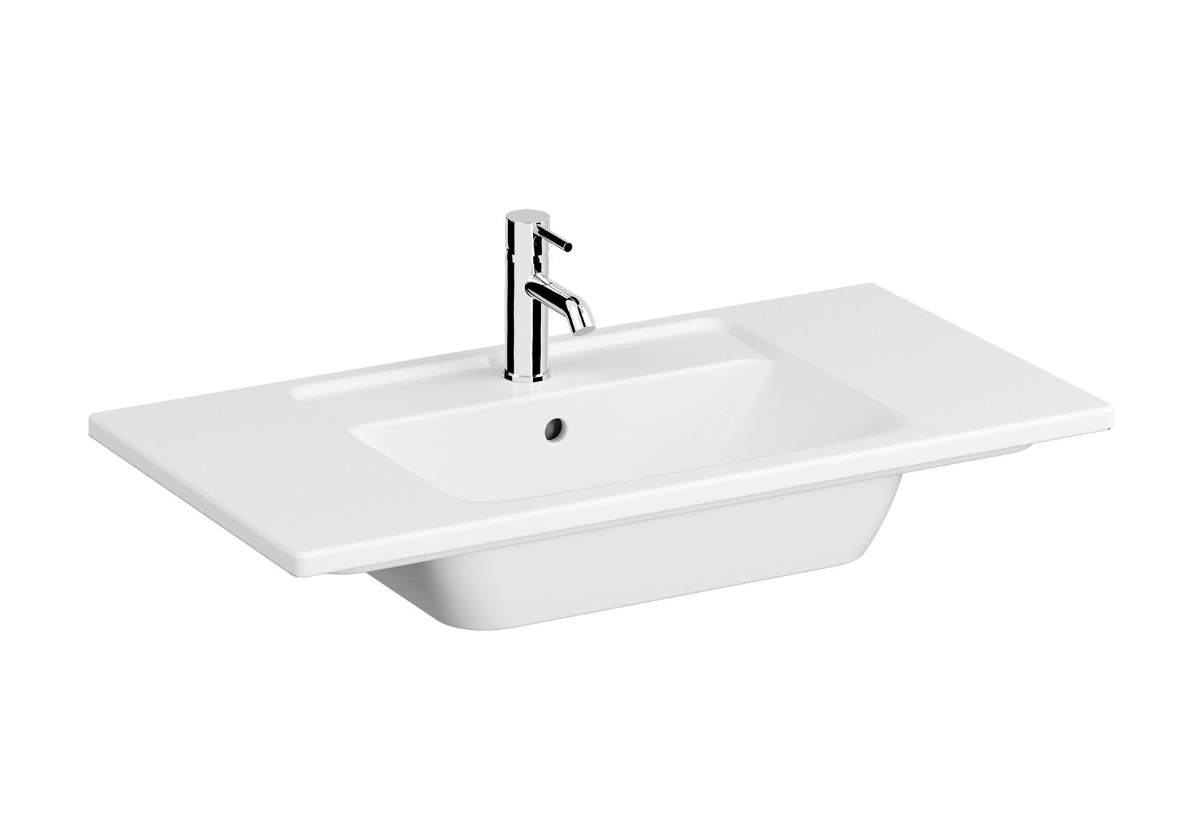 Integra plan céramique, 90 cm, avec trou de robinet, avec trop-plein