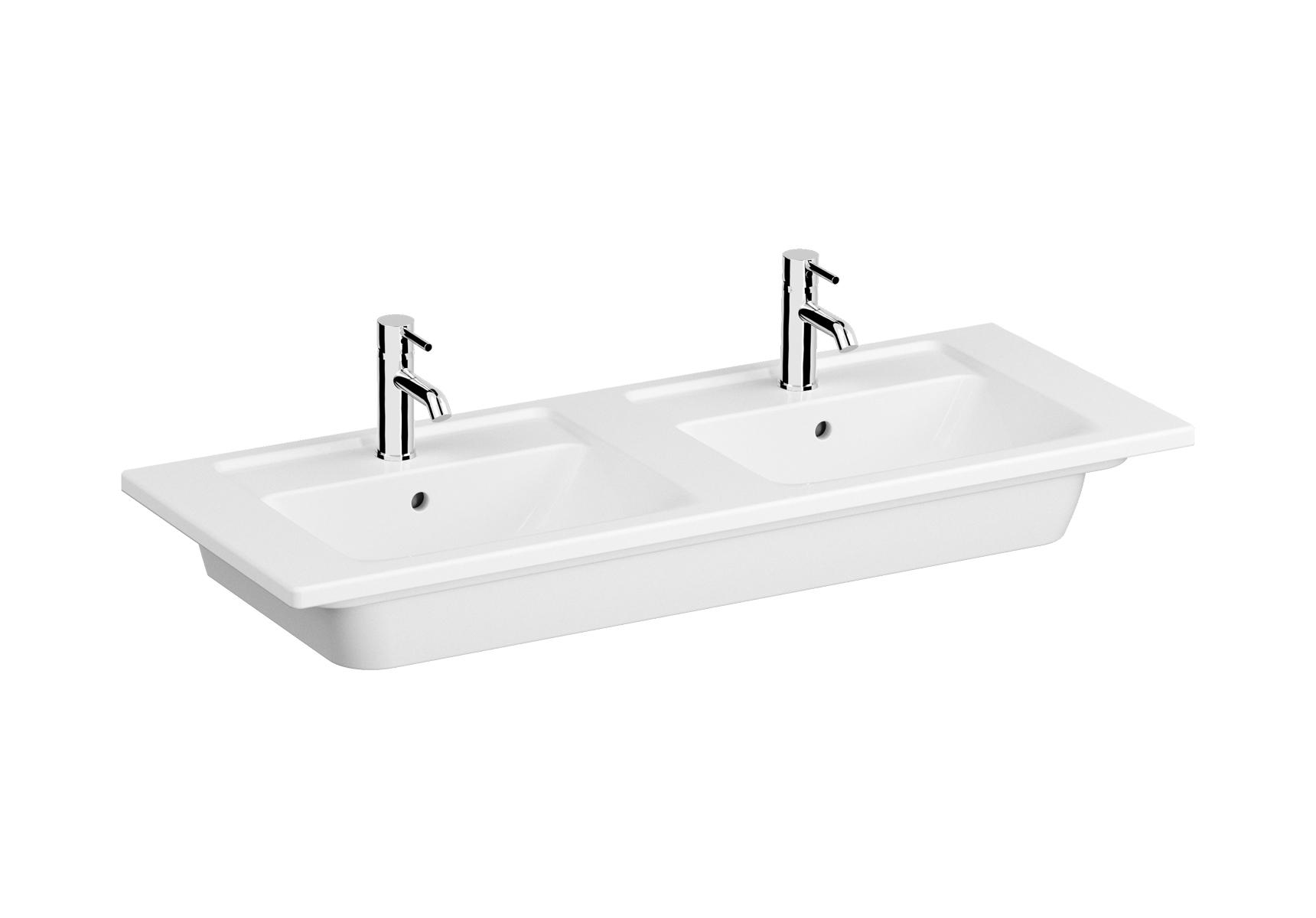 Integra plan céramique, lavabo double, 120 cm, avec trou de robinet et trop-plein par bac