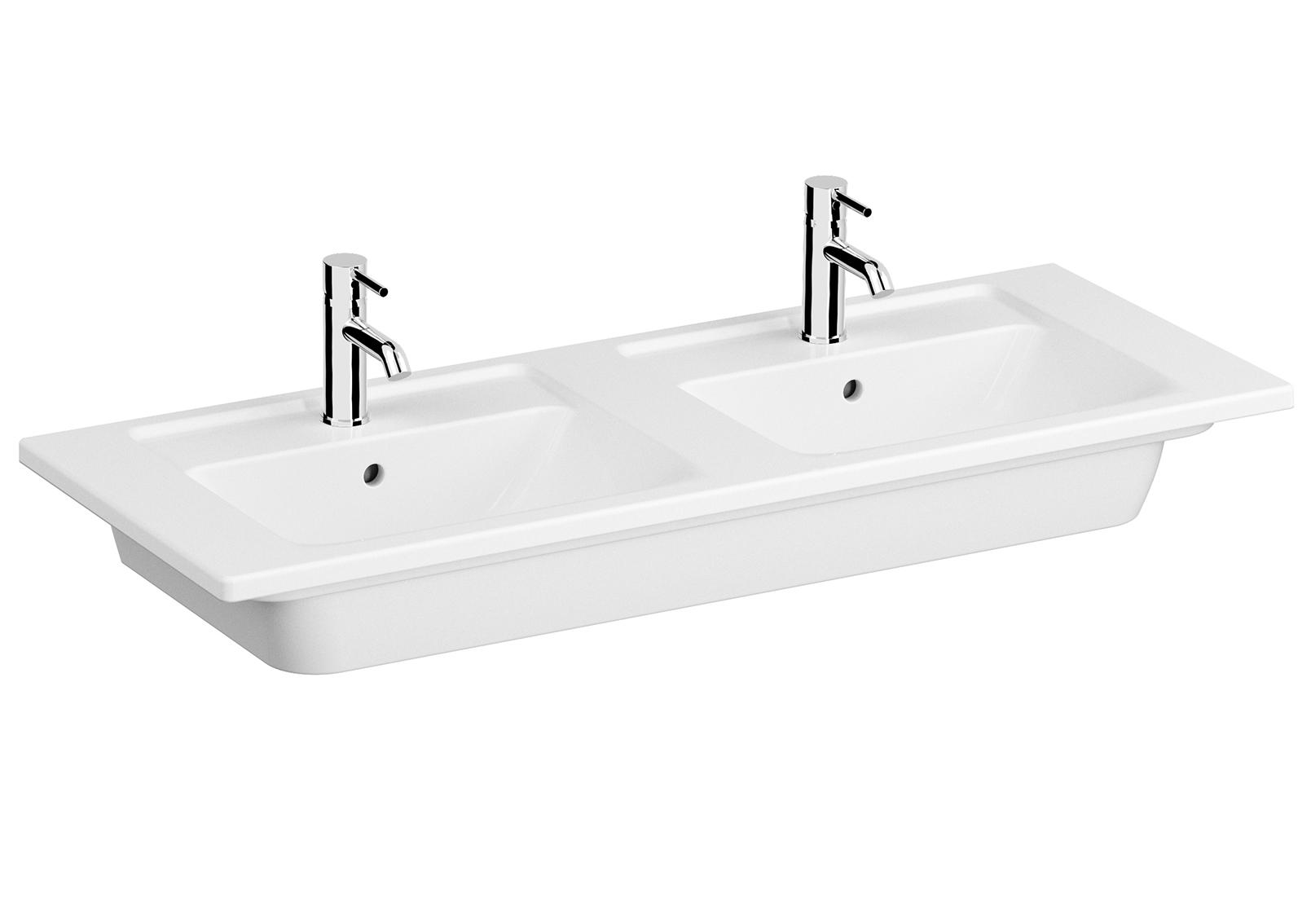 Integra Doppelmöbelwaschtisch, 120 cm, 2 Becken, Weiß