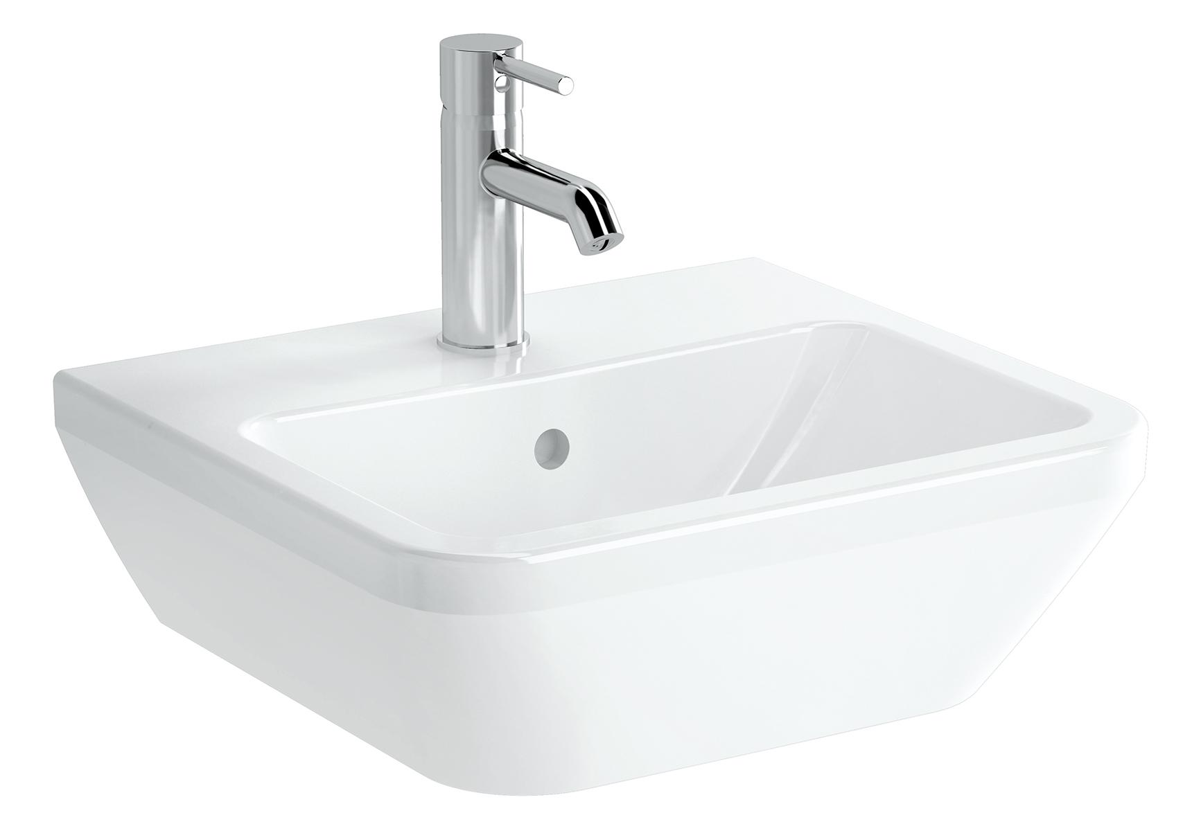Integra lavabo carré, 45 cm, avec trou de robinet, avec trop-plein