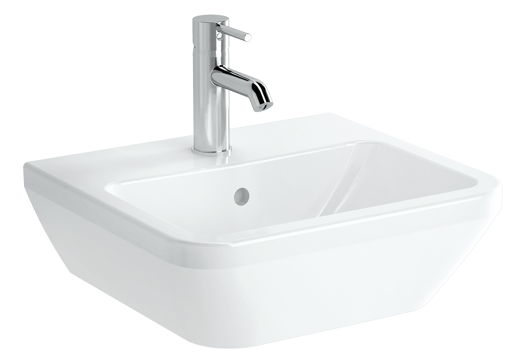 Integra lavabo carré, 45 cm, sans trou de robinet, avec trop-plein