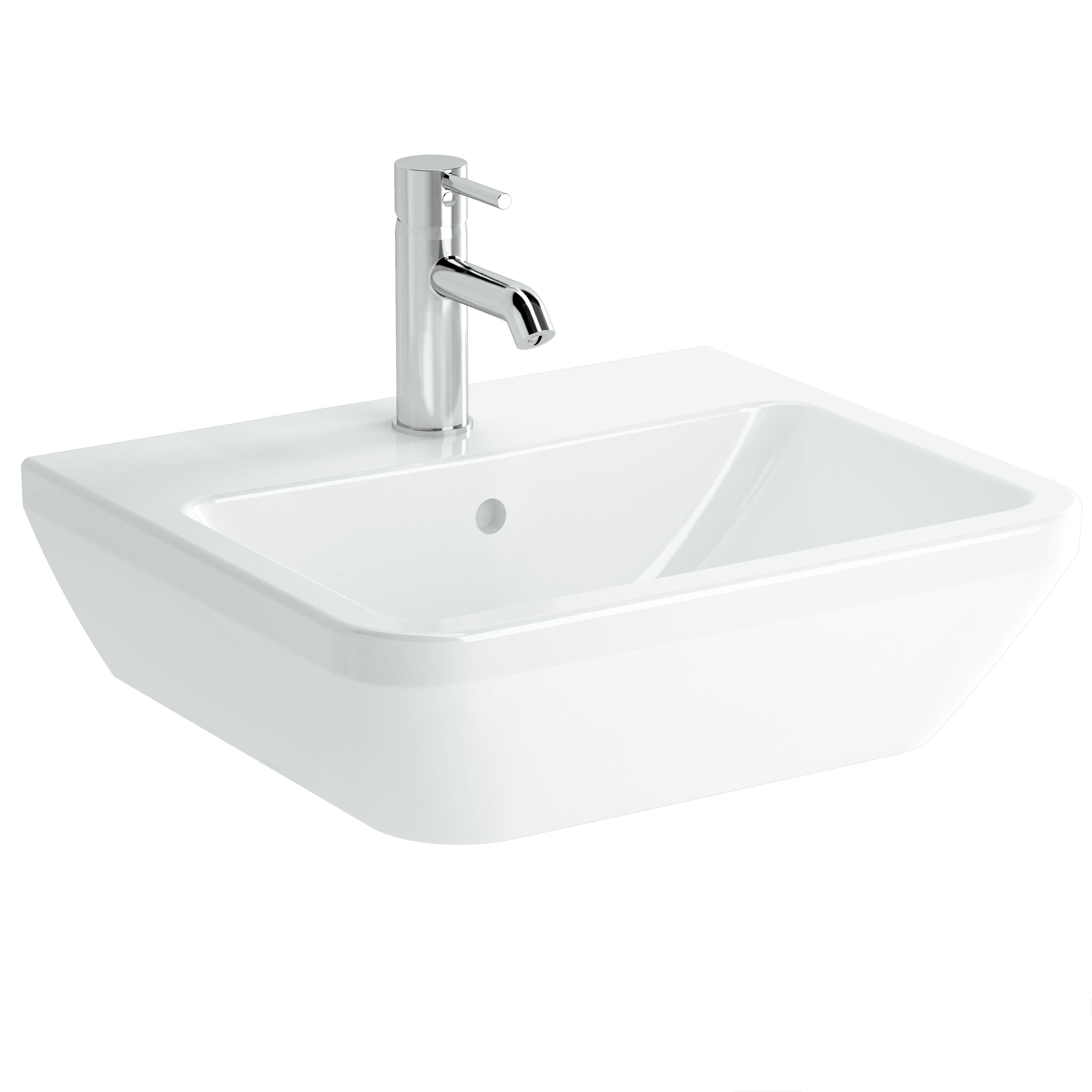 Integra Waschtisch, 50 cm, eckig, mit Hahnloch, mit Überlaufloch, Weiß, VitrA Clean