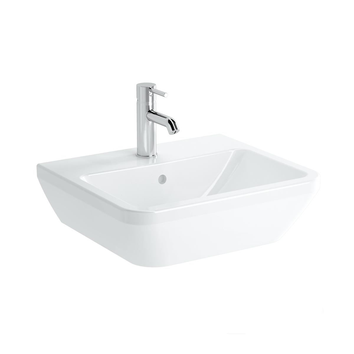 Integra Waschtisch, 50 cm, eckig, ohne Hahnloch, mit Überlaufloch, Weiß, VitrA Clean