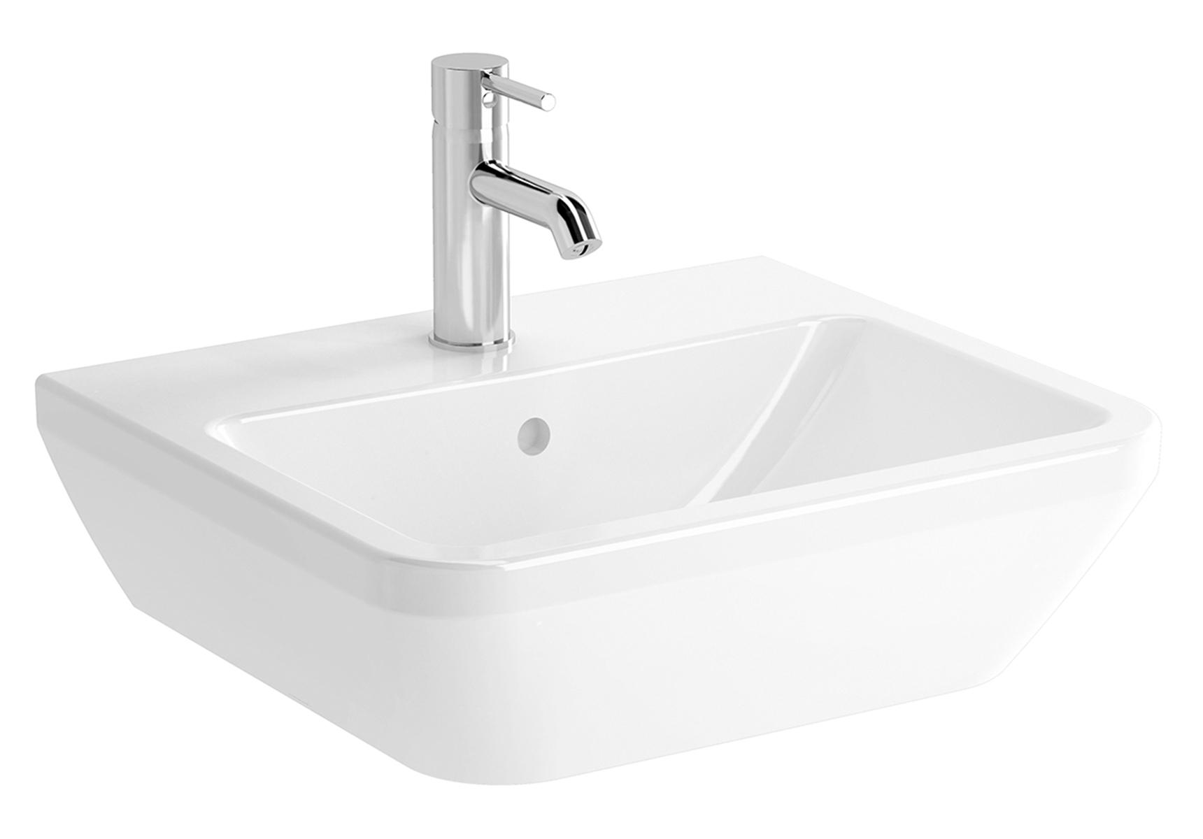 Integra lavabo carré, 50 cm, avec trou de robinet, avec trop-plein