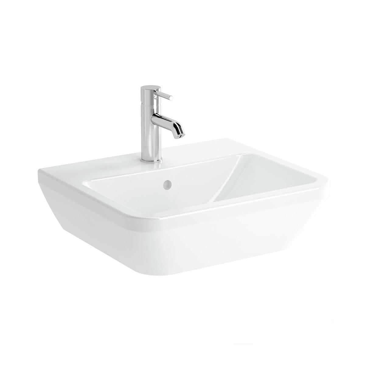 Integra Waschtisch, 55 cm, eckig, mit Hahnloch, mit Überlaufloch, Weiß, VitrA Clean