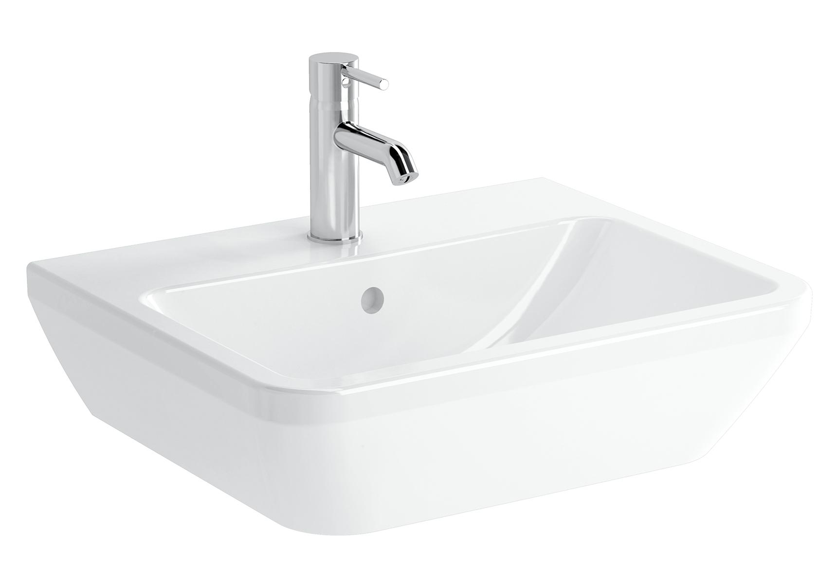 Integra lavabo carré, 55 cm, avec trou de robinet, avec trop-plein