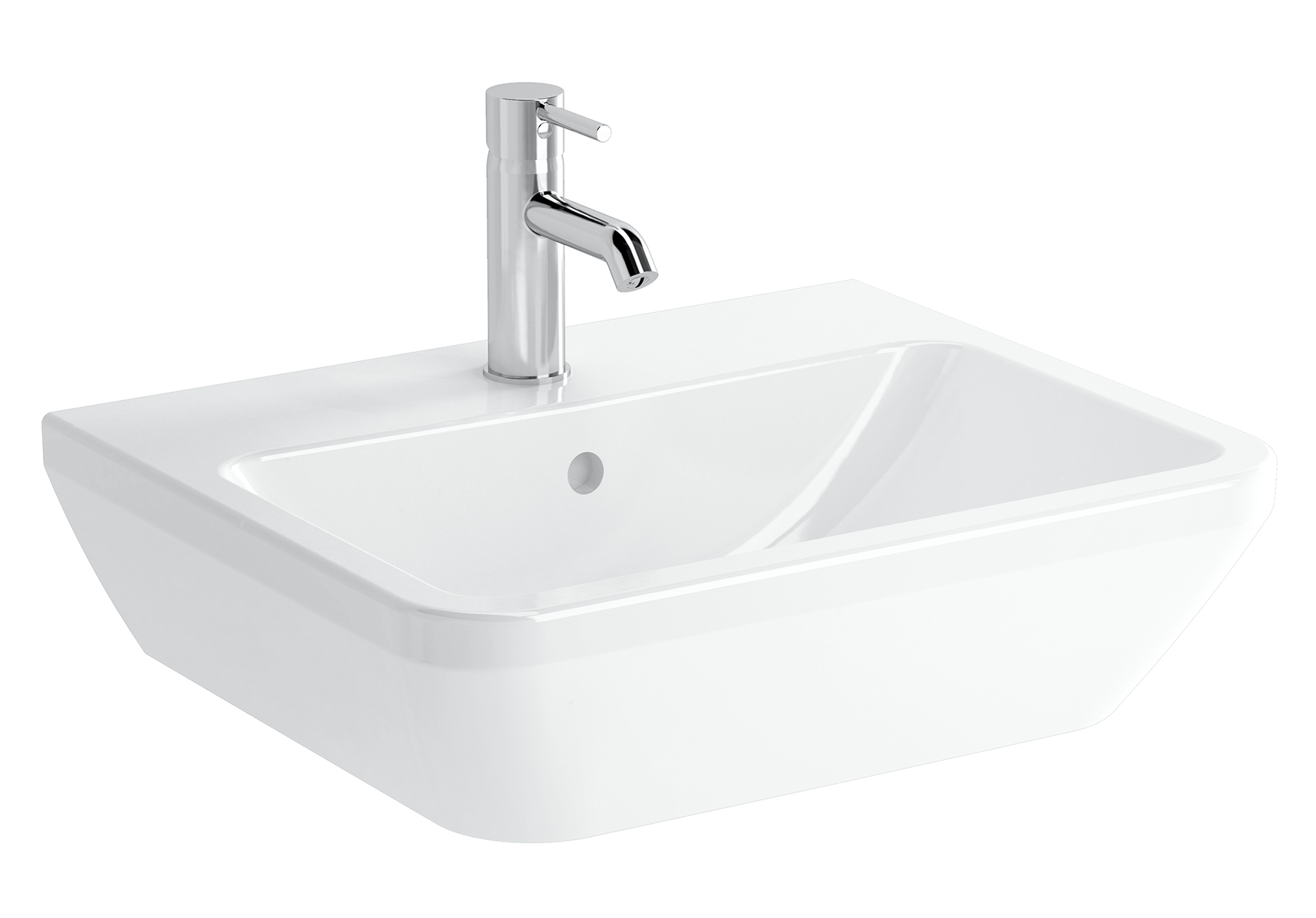 Integra lavabo carré, 55 cm, avec trou de robinet, sans trop-plein