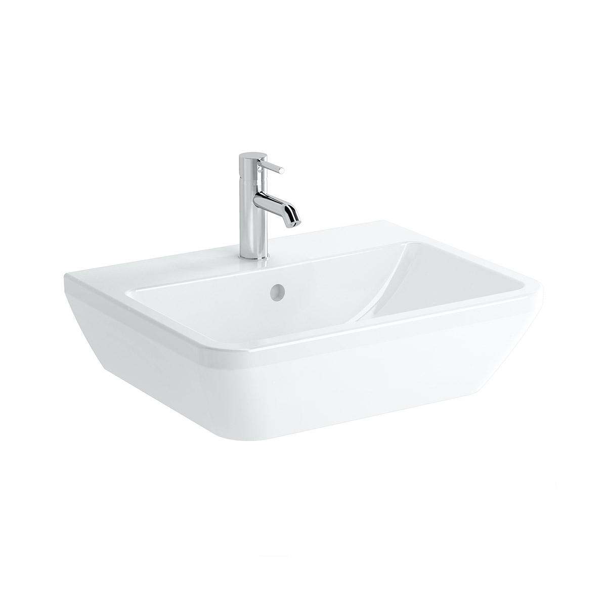 Integra Waschtisch, 60 cm, eckig, mit Hahnloch, mit Überlaufloch, Weiß, VitrA Clean