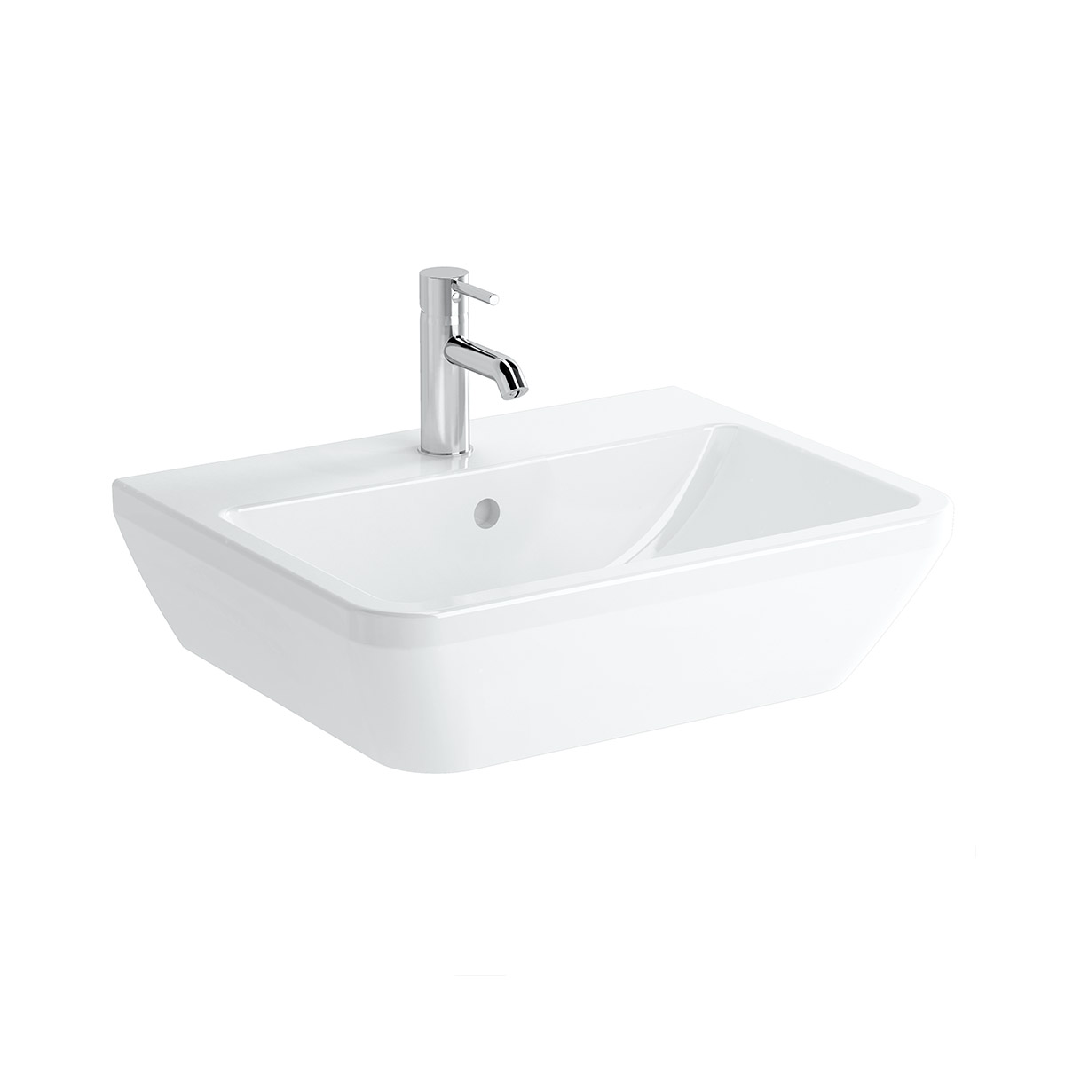 Integra Waschtisch, 60 cm, eckig, mit Hahnloch, ohne Überlaufloch, Weiß, VitrA Clean