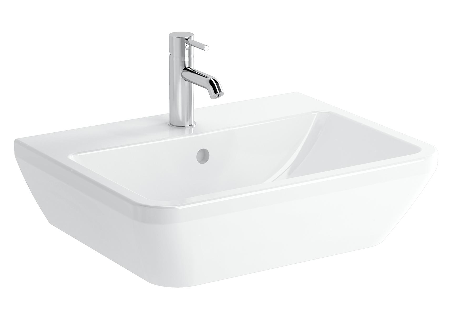Integra lavabo carré, 60 cm, avec trou de robinet, avec trop-plein