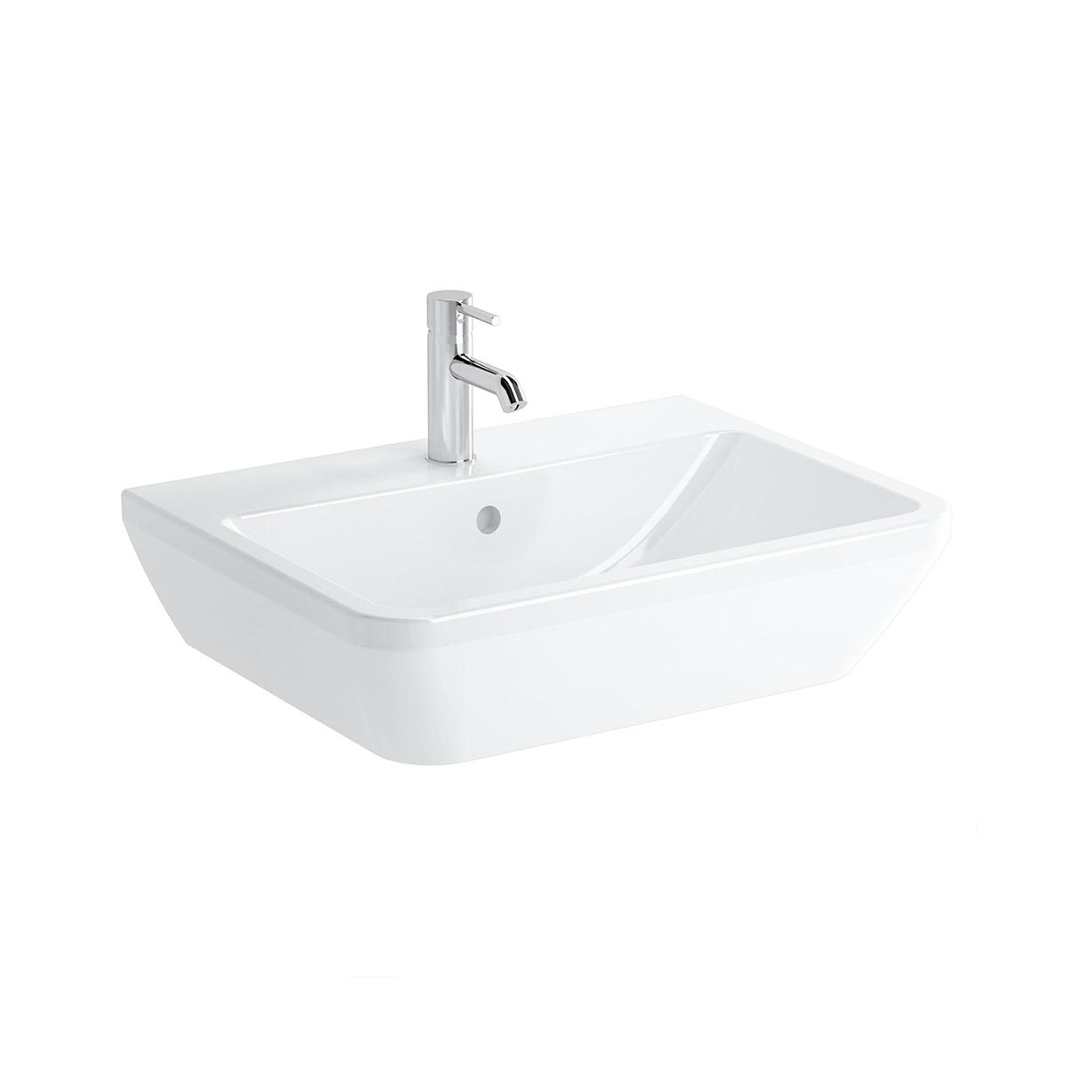 Integra Waschtisch, 65 cm, eckig, mit Hahnloch, mit Überlaufloch, Weiß, VitrA Clean