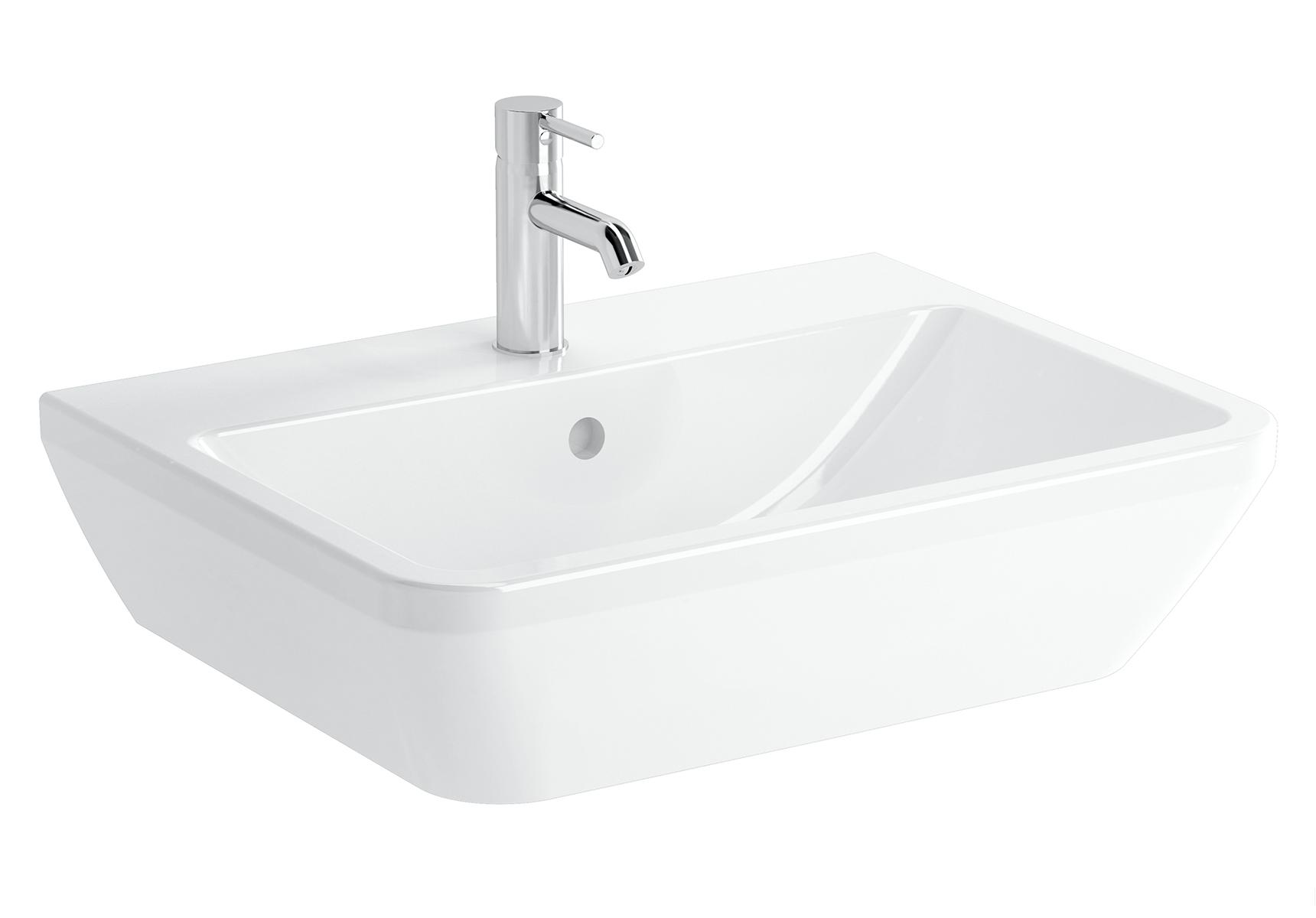 Integra lavabo carré, 65 cm, avec trou de robinet, avec trop-plein