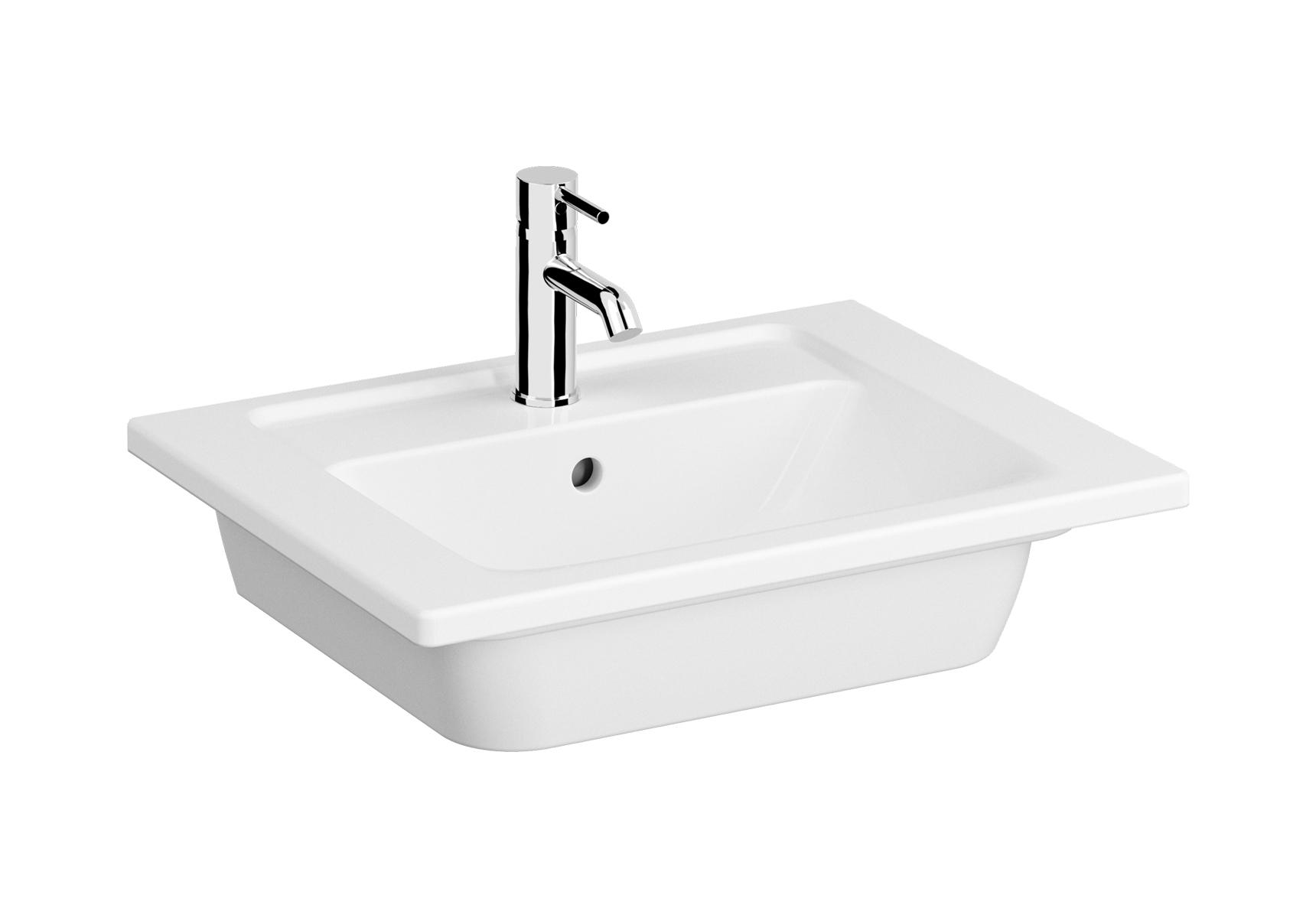 Integra plan céramique, 60 cm, avec trou de robinet, avec trop-plein