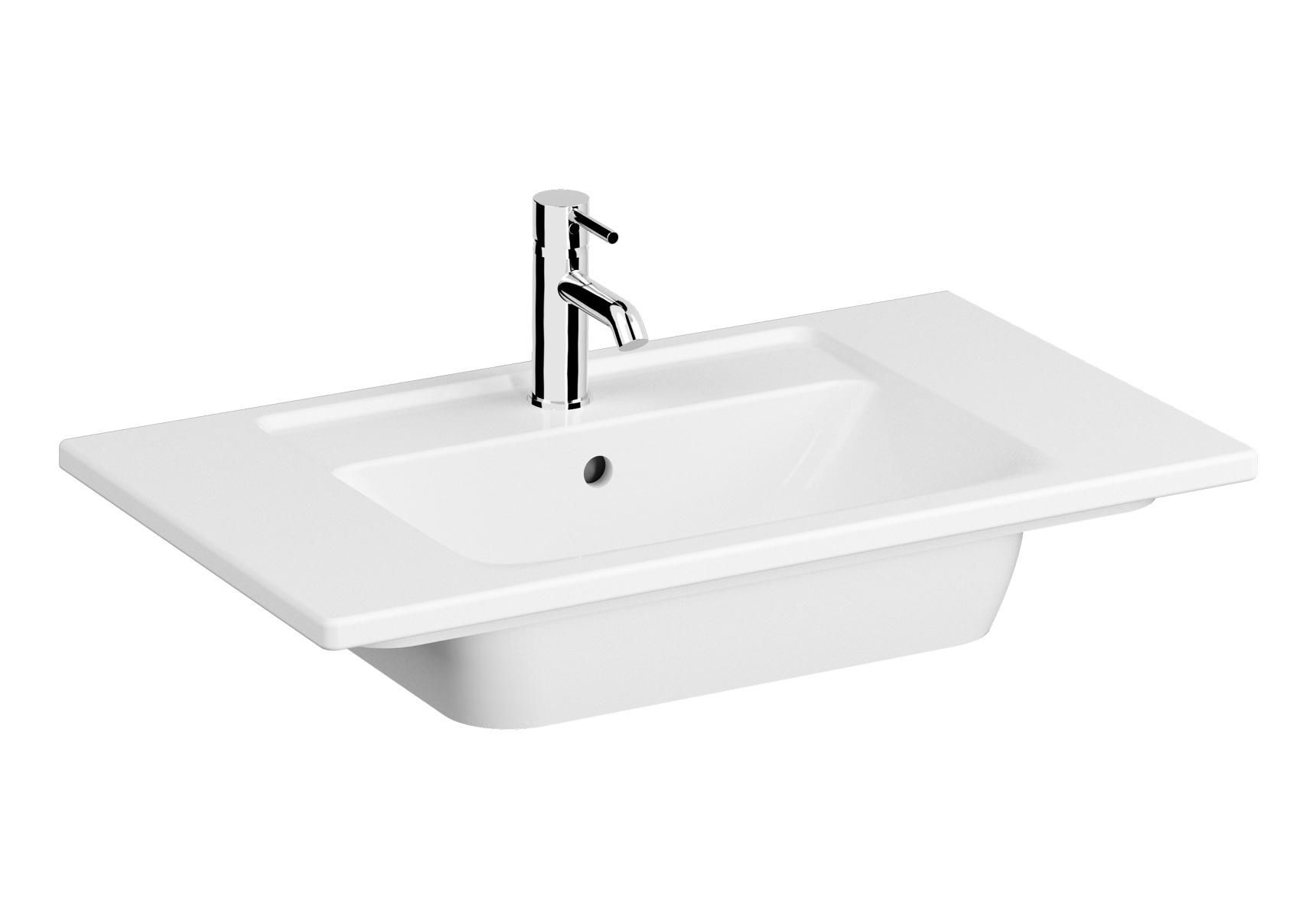 Integra plan céramique, 80 cm, avec trou de robinet, avec trop-plein