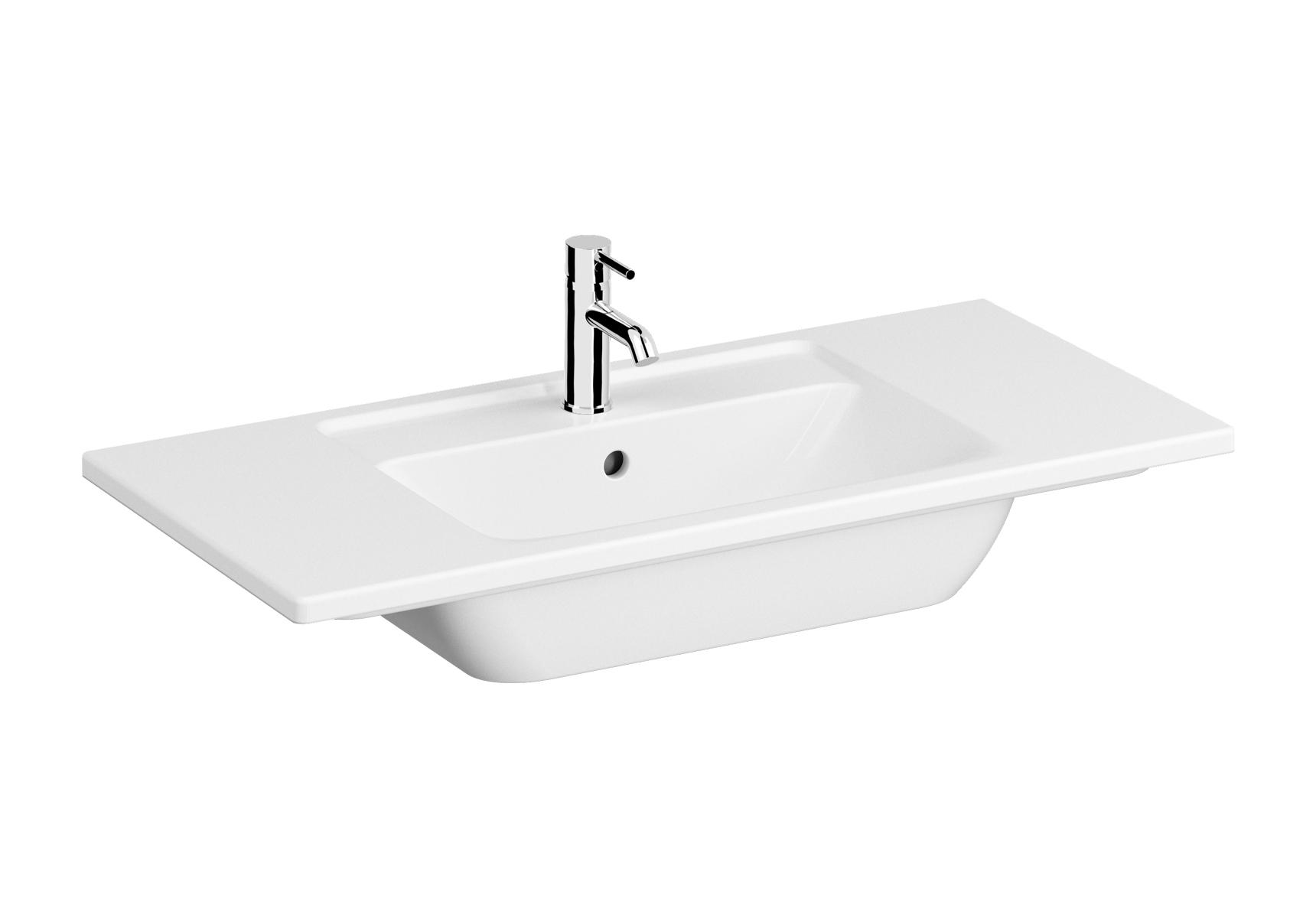 Integra plan céramique, 100 cm, avec trou de robinet, avec trop-plein
